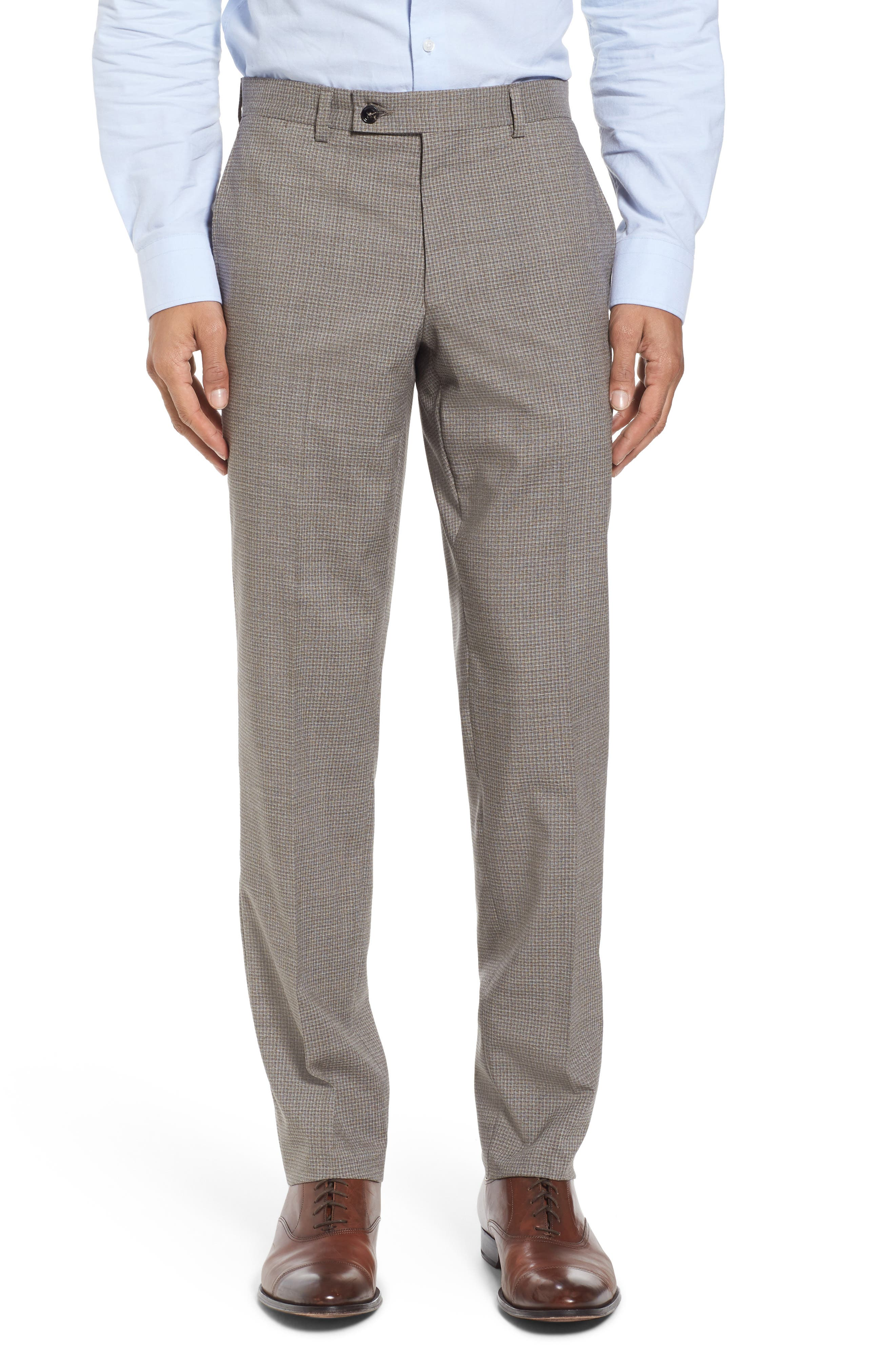 Flat Front Check Wool Trousers,                         Main,                         color, Tan