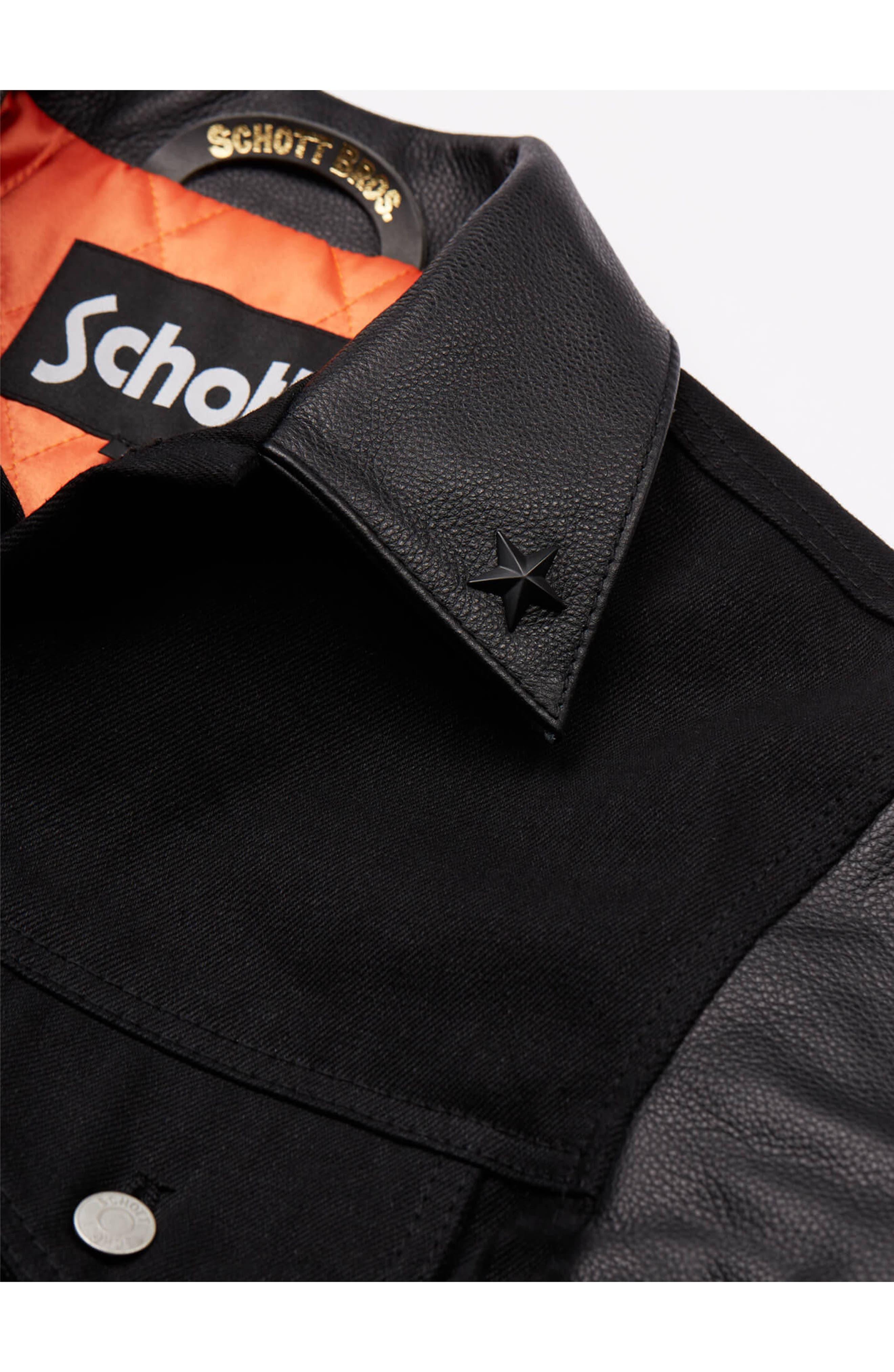 x Schott Denim Jacket,                             Alternate thumbnail 3, color,                             Black