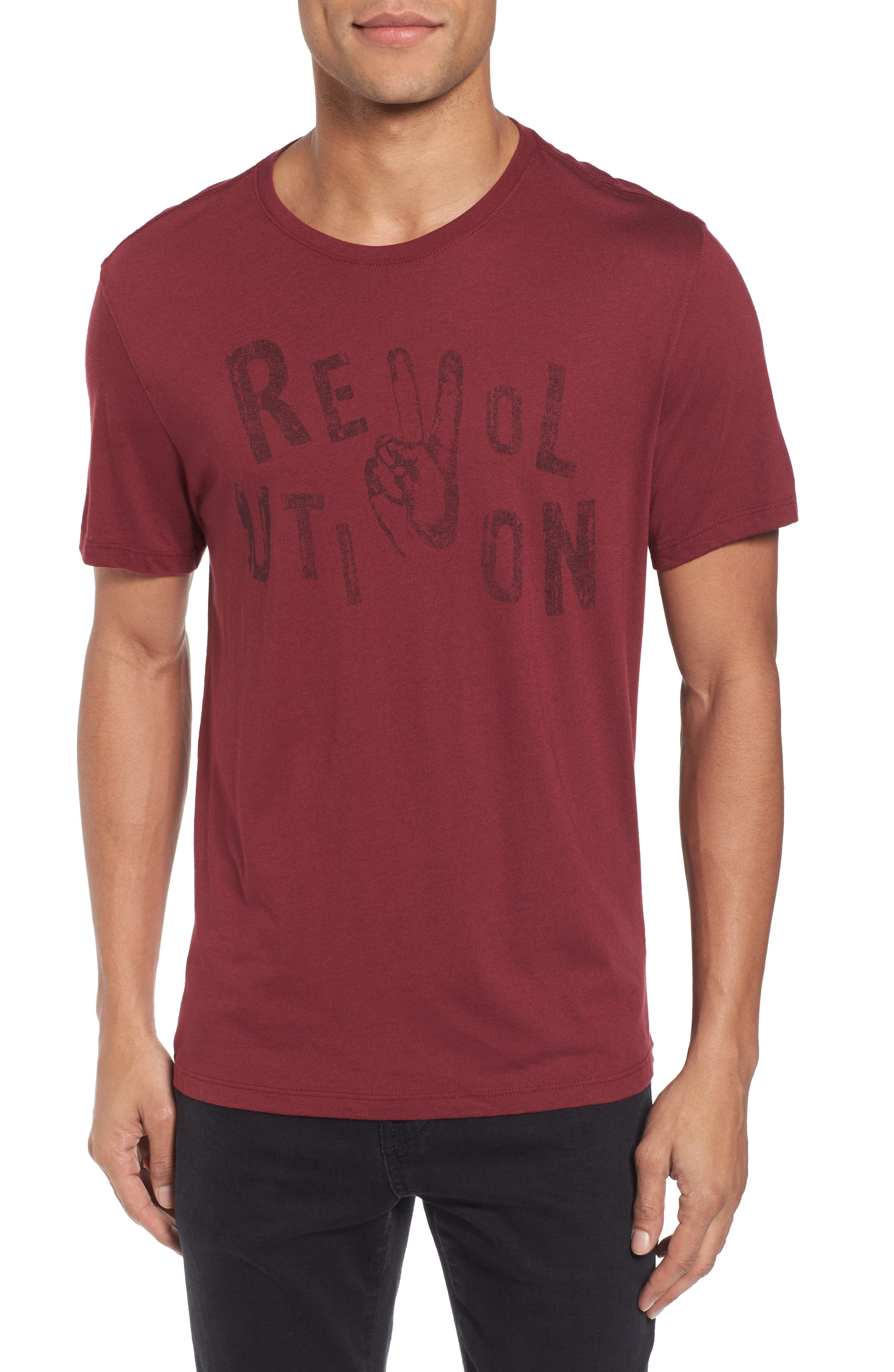 Revolution Graphic T-Shirt,                         Main,                         color, Oxblood