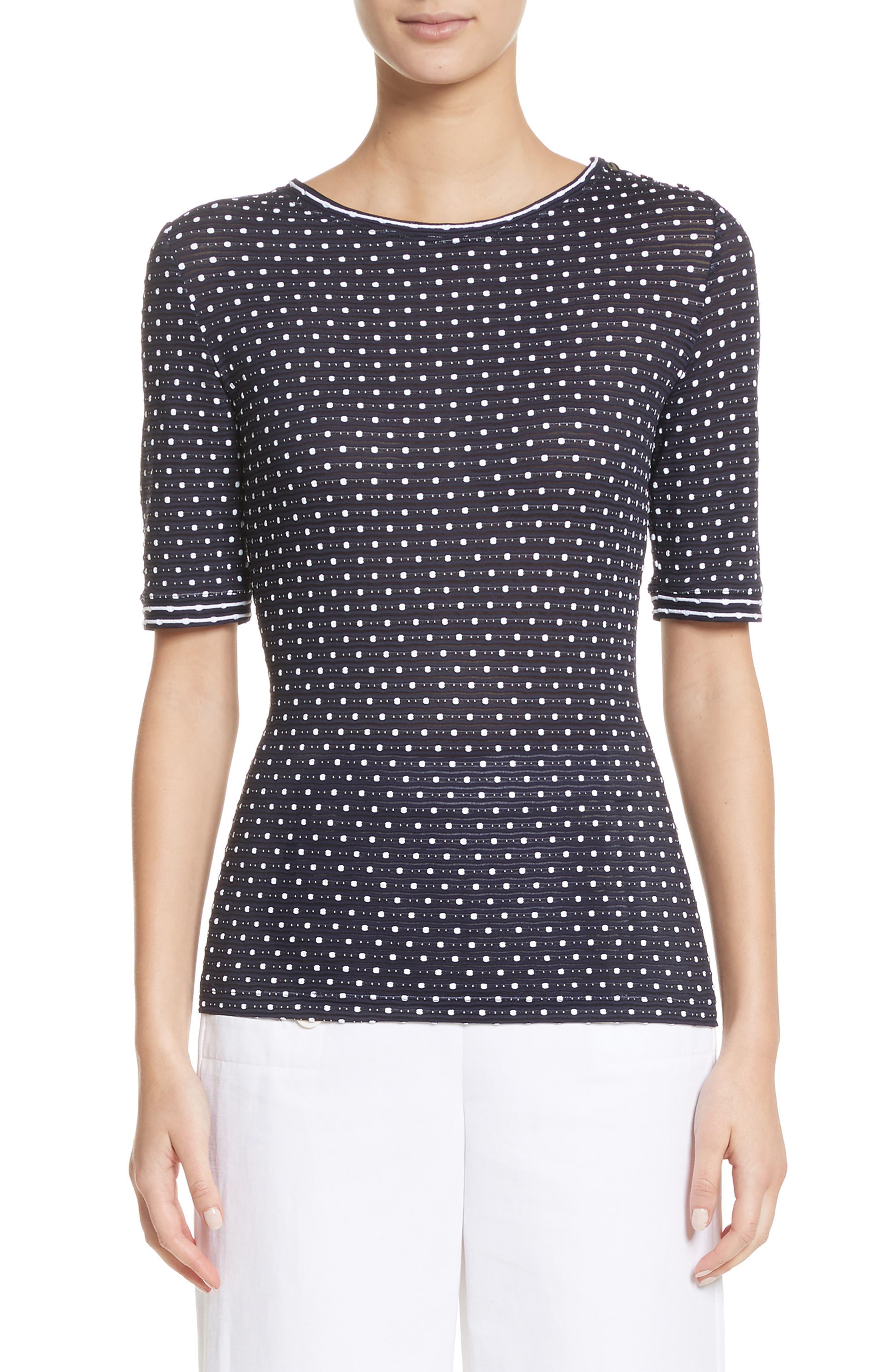 Dot Print Jersey Top,                         Main,                         color, Navy Multi
