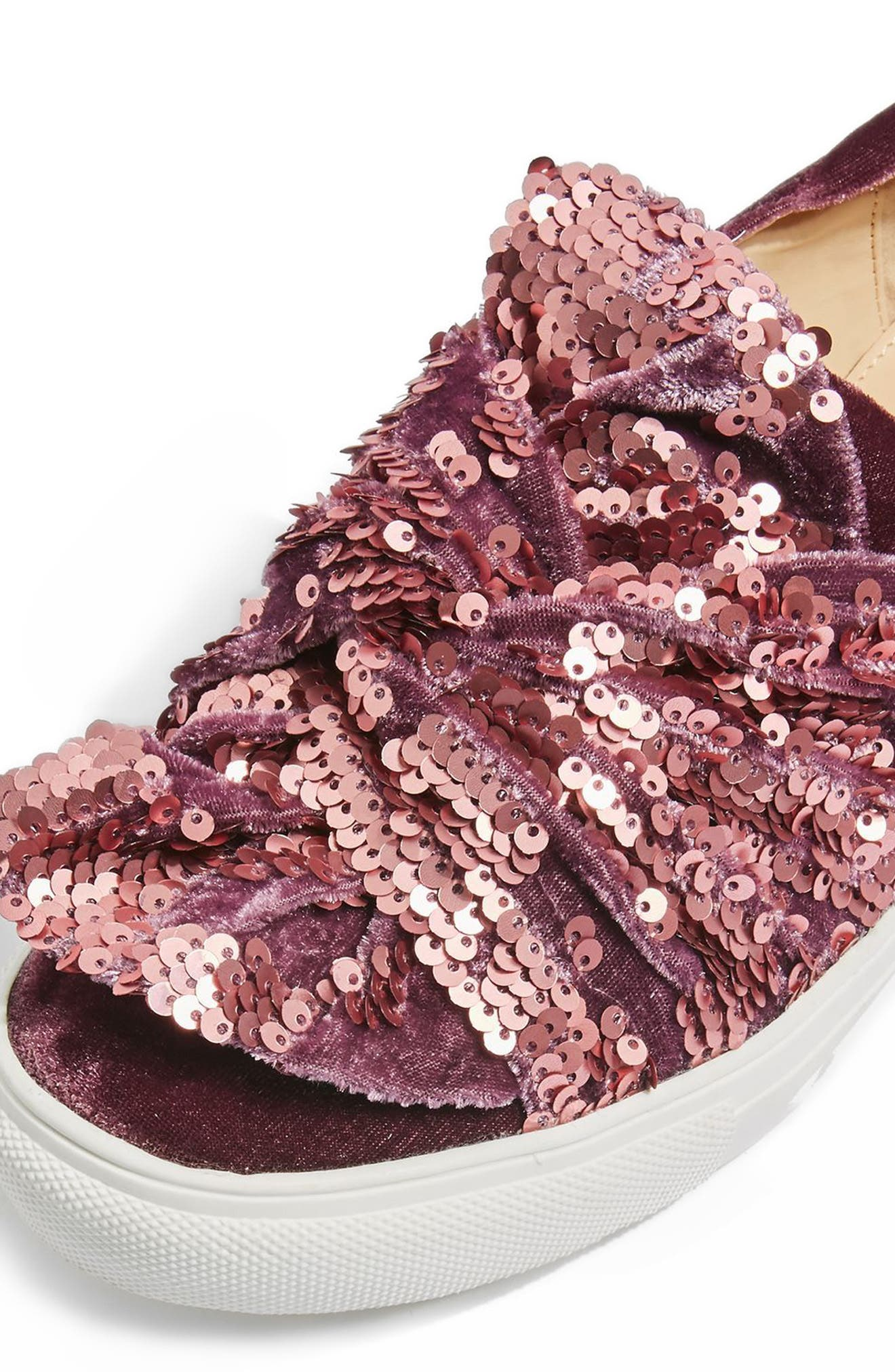 Twisted Sequin Velvet Sneakers,                             Alternate thumbnail 3, color,                             Pink
