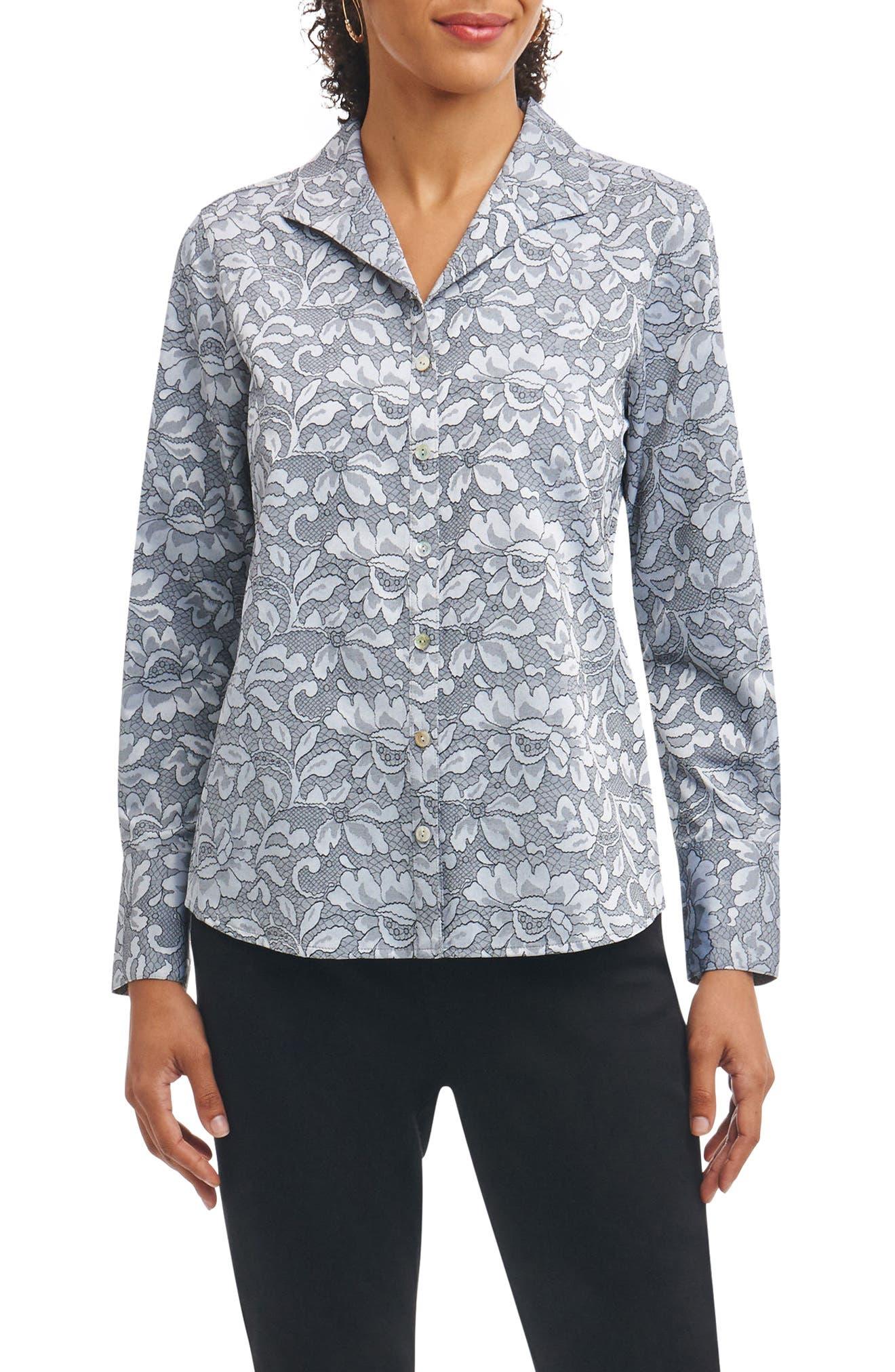 Rhonda Wrinkle Free Lace Jacquard Shirt,                             Main thumbnail 1, color,                             Slate
