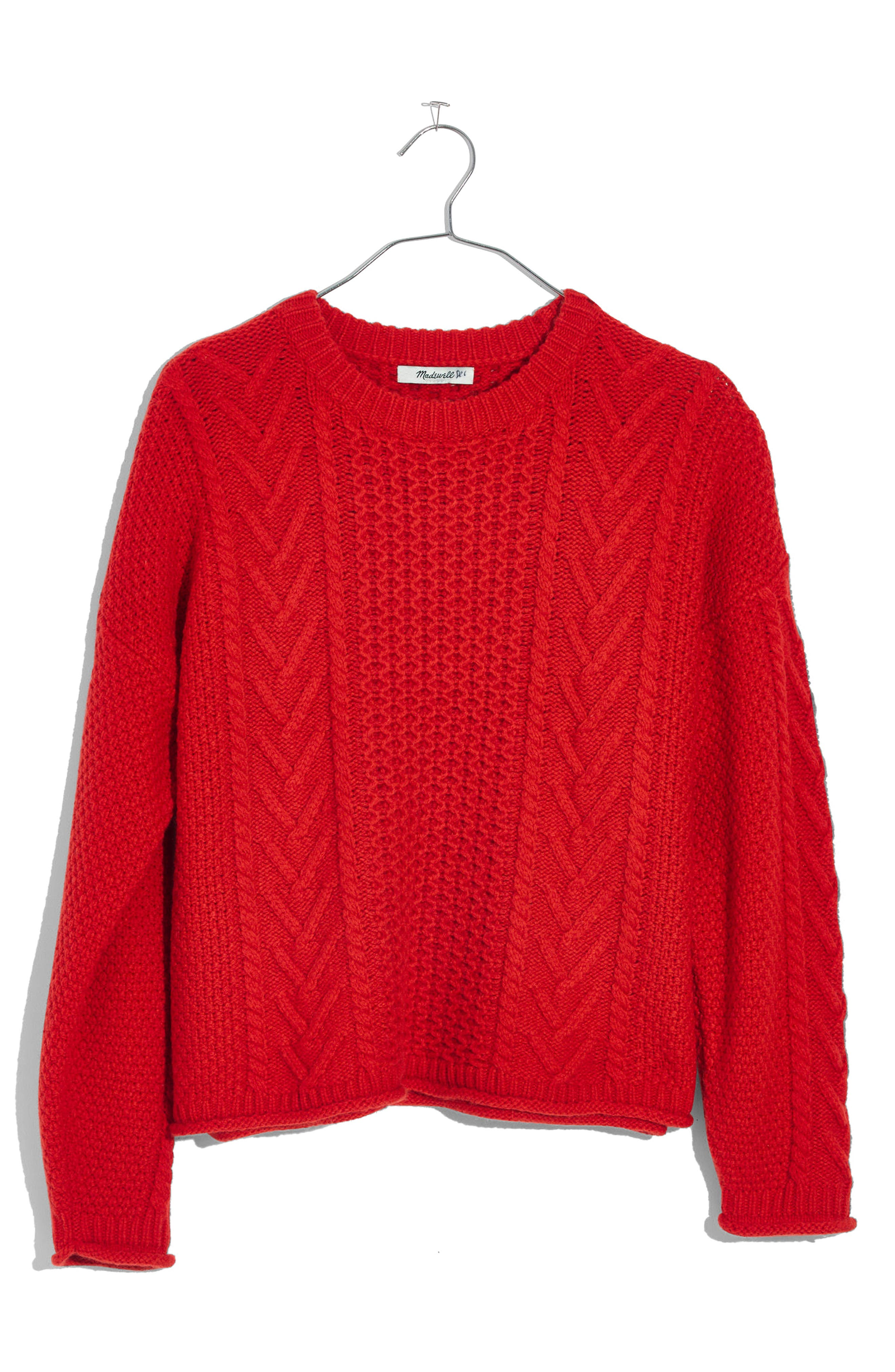 Cable Knit Pullover Sweater,                         Main,                         color, Bright Poppy