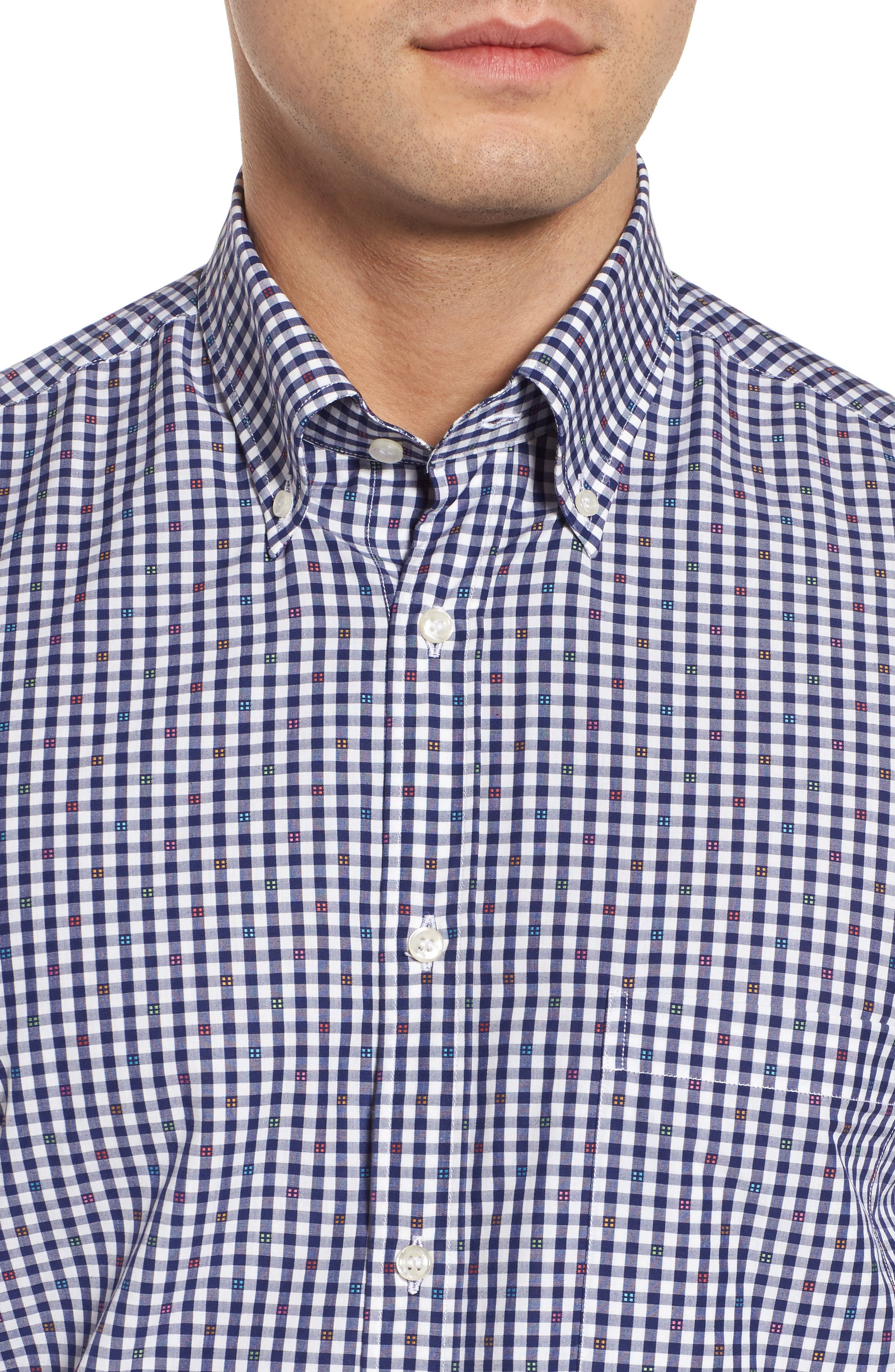 Paul&Shark Regular Fit Jacquard Check Sport Shirt,                             Alternate thumbnail 2, color,                             Navy/ White