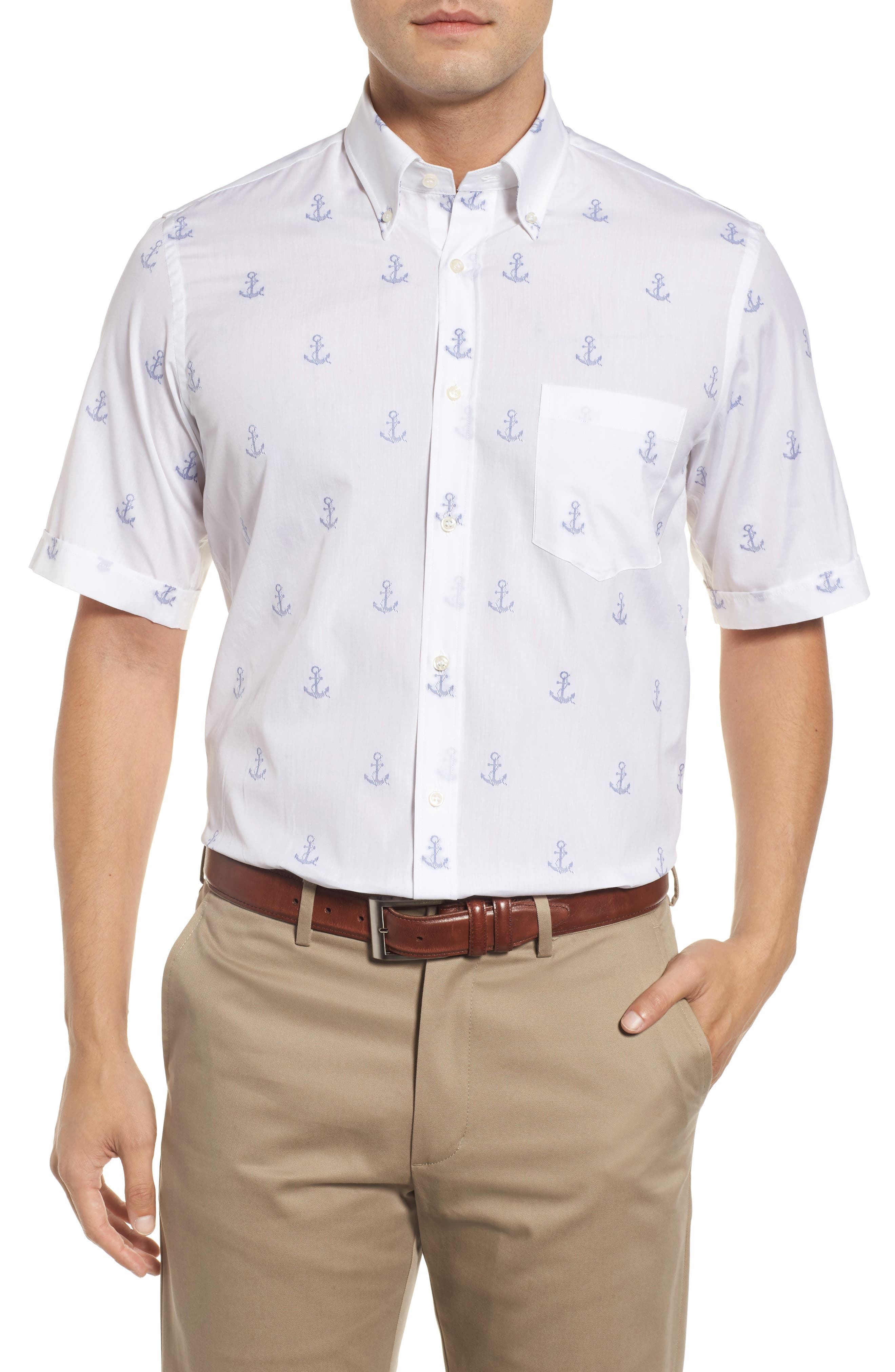 Paul&Shark Regular Fit Anchor Sport Shirt,                             Main thumbnail 1, color,                             White