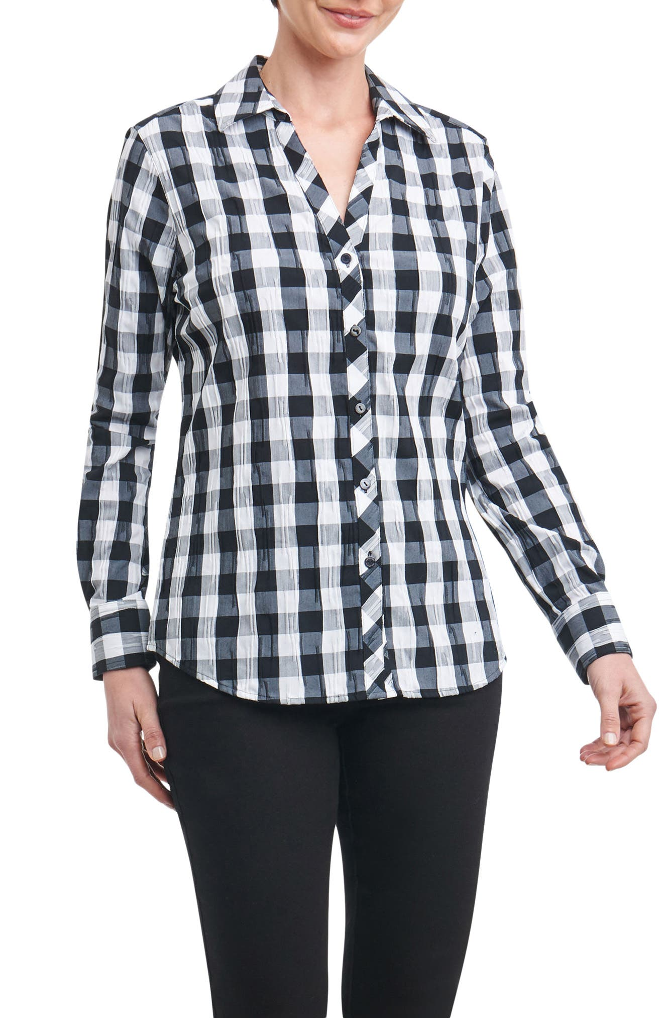 Foxcroft Mary Buffalo Check Crinkle Shirt