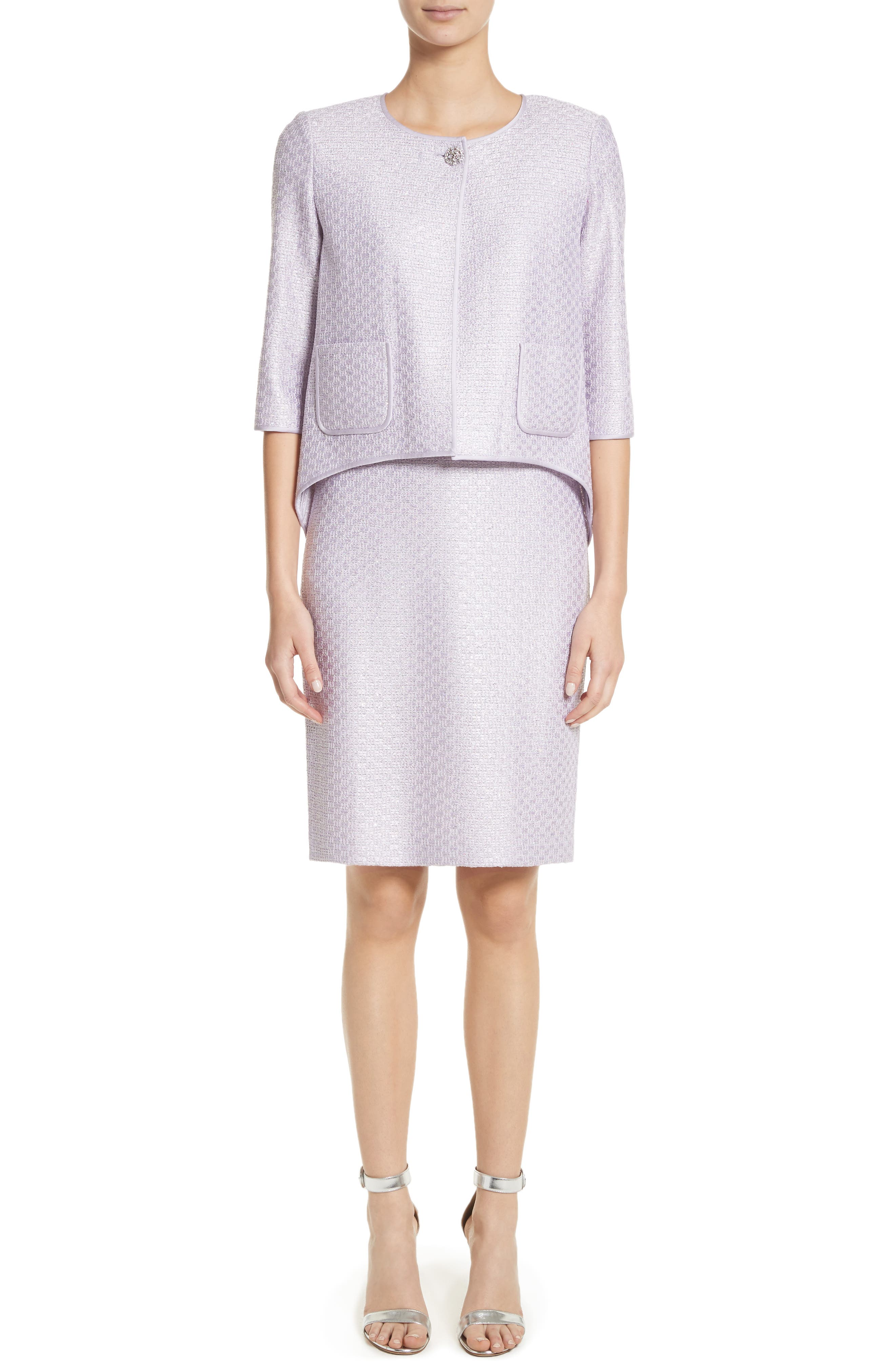 Hansh Sequin Knit Pencil Skirt,                             Alternate thumbnail 8, color,                             Lilac Multi