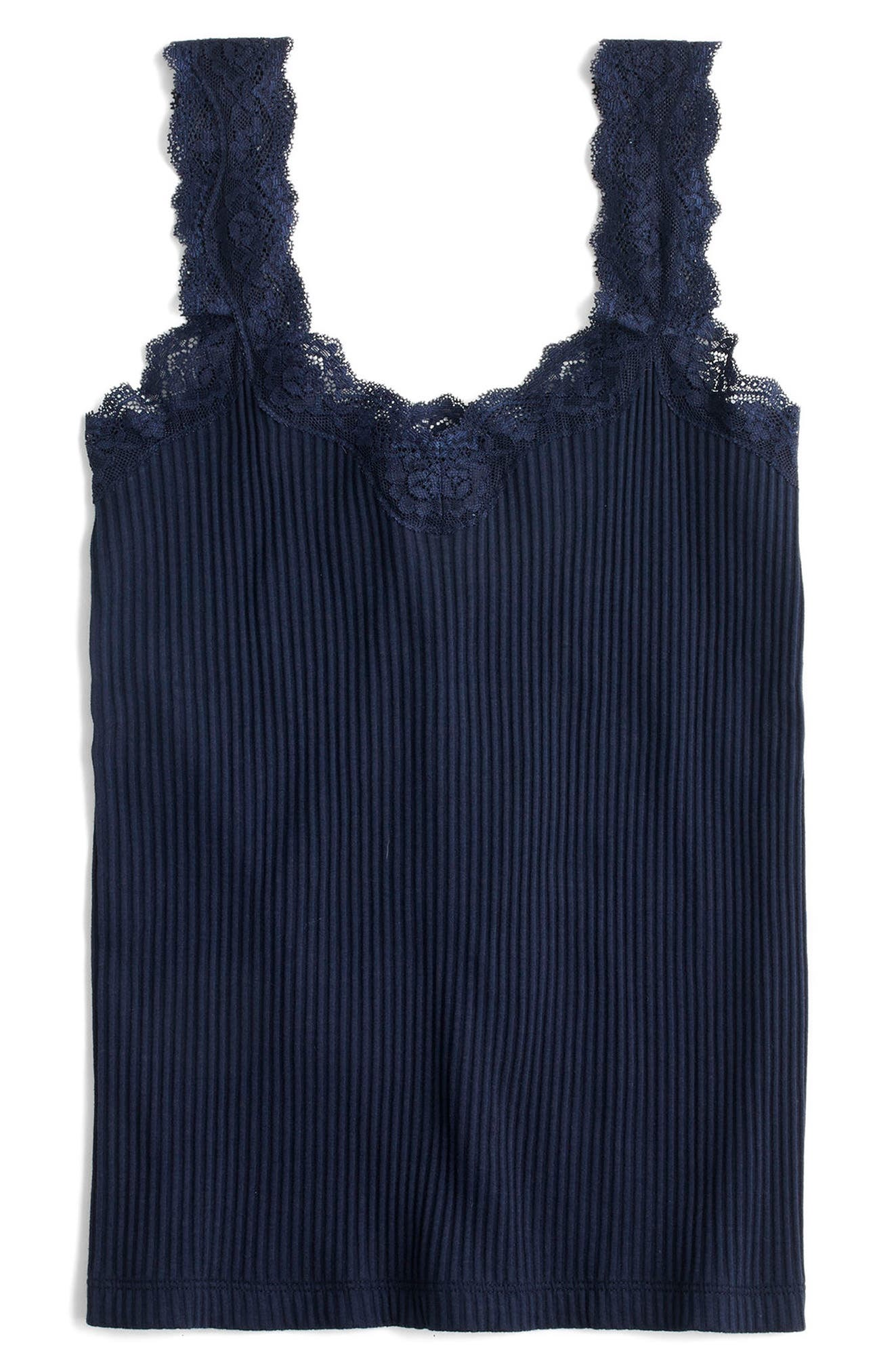 Lace Trim Tank,                         Main,                         color, Navy