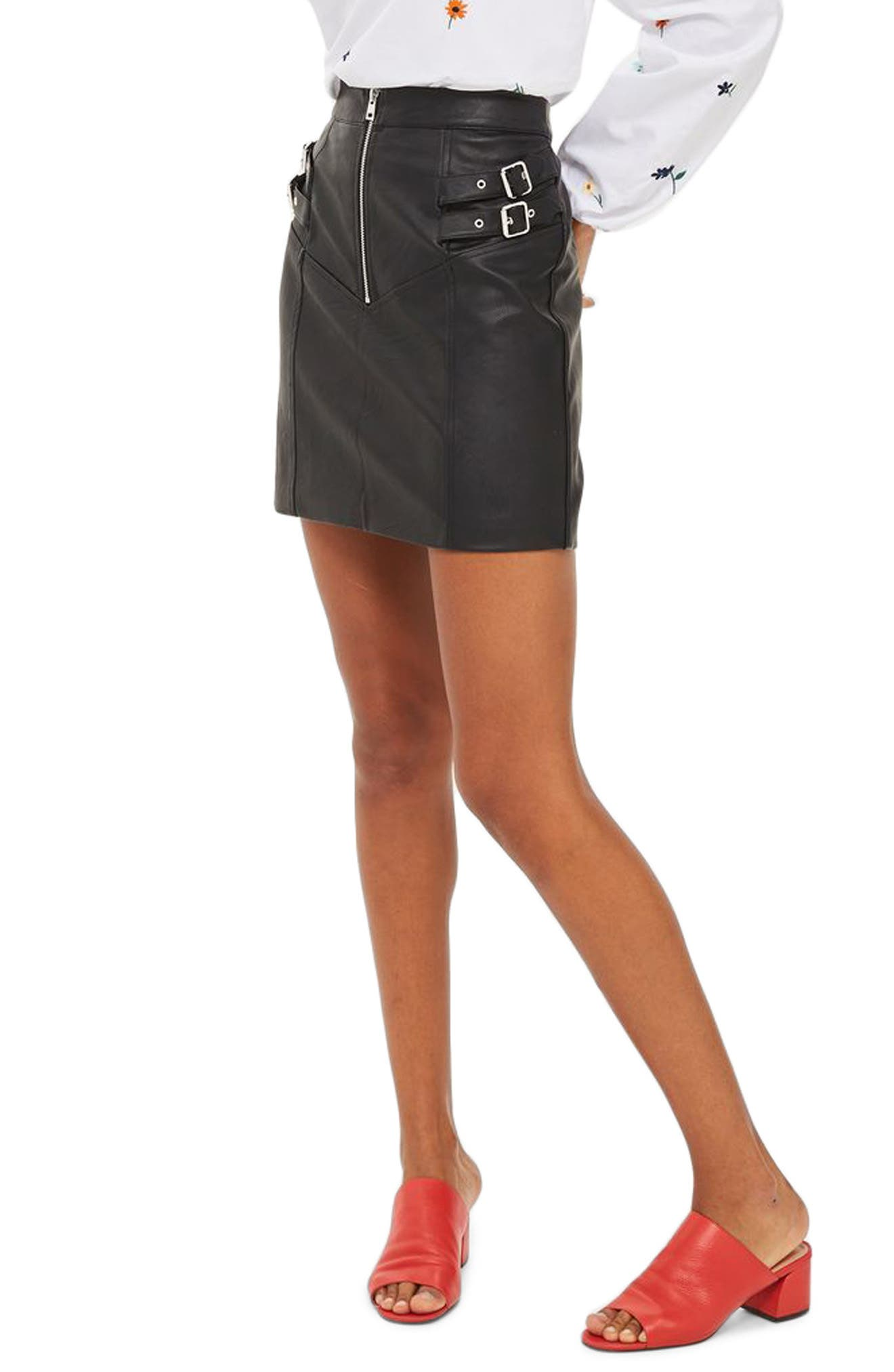 Alternate Image 3  - Topshop Double Buckle Faux Leather Miniskirt