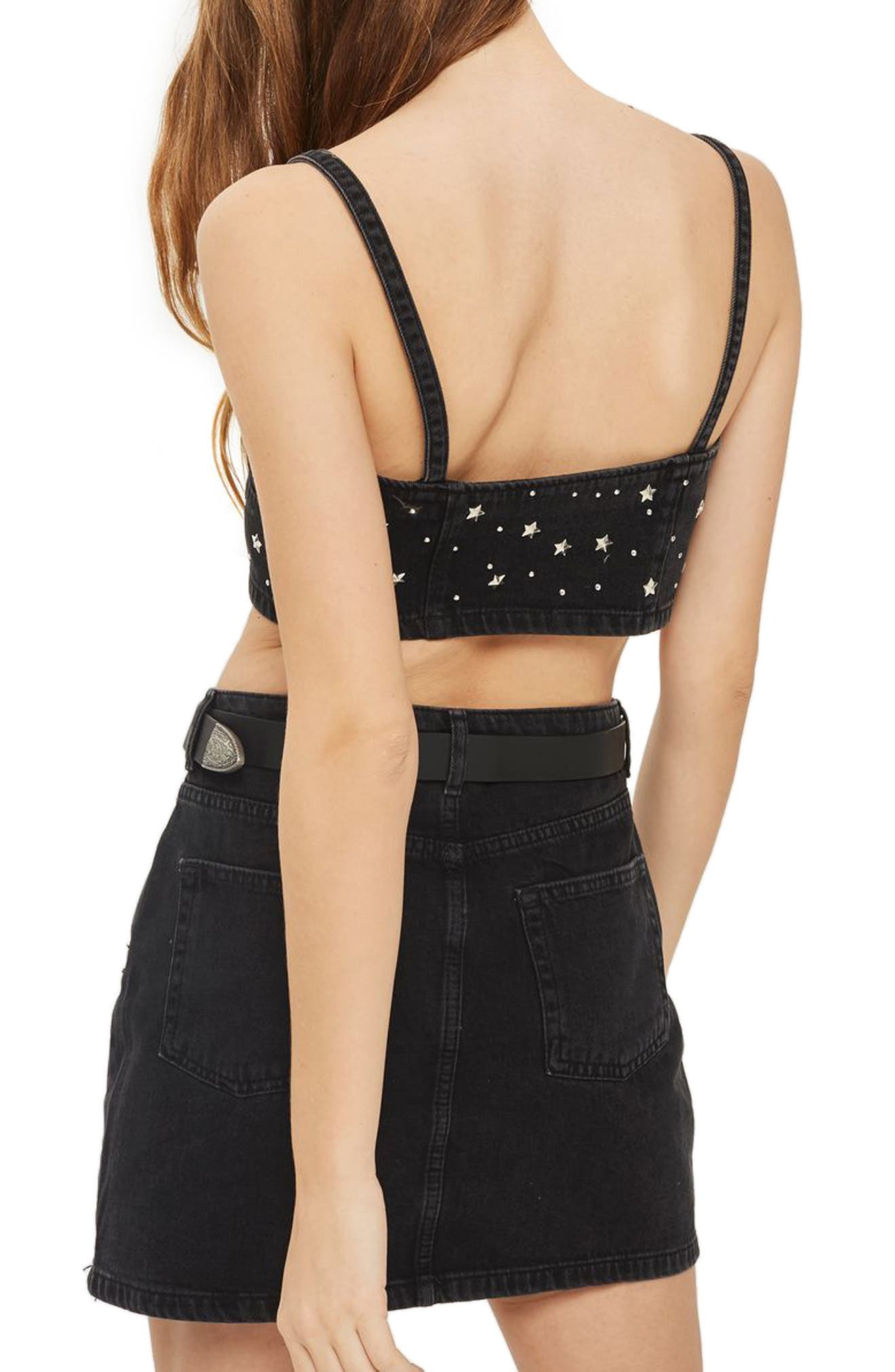 Star Studded Denim Skirt,                             Alternate thumbnail 2, color,                             Washed Black