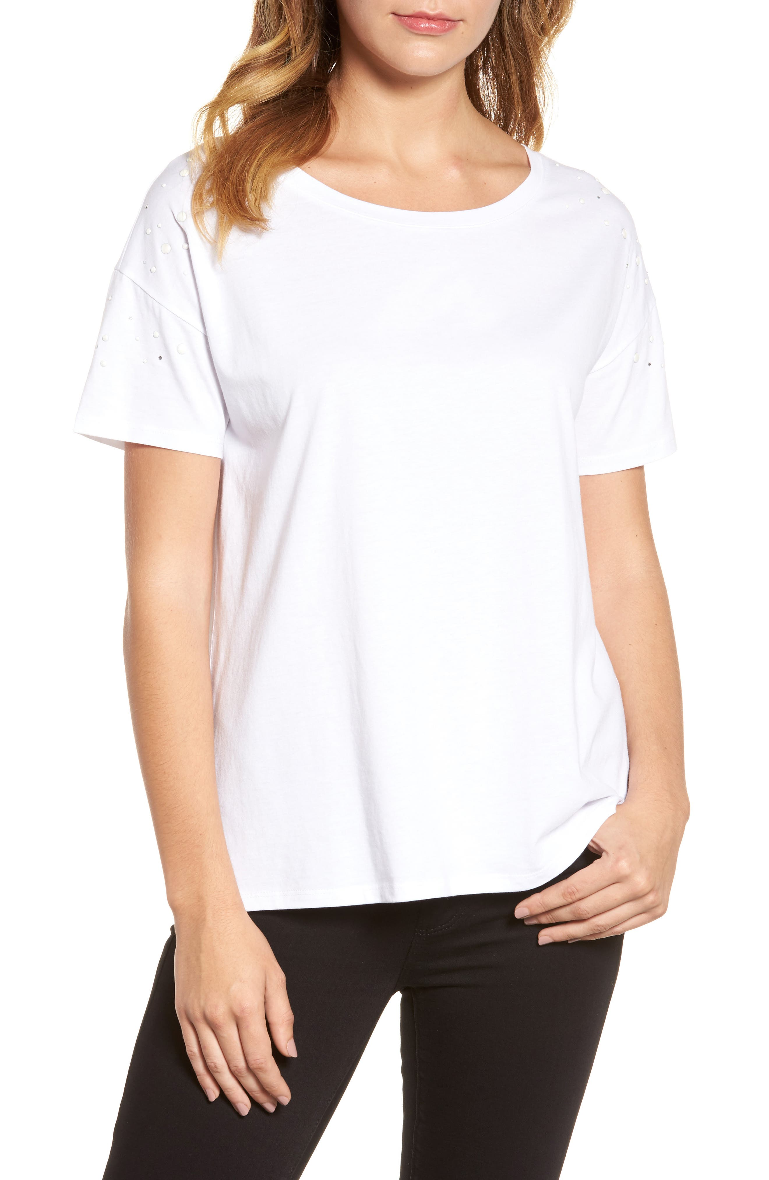 Short Sleeve Pearly T-Shirt,                             Main thumbnail 1, color,                             White W/ White Pearls