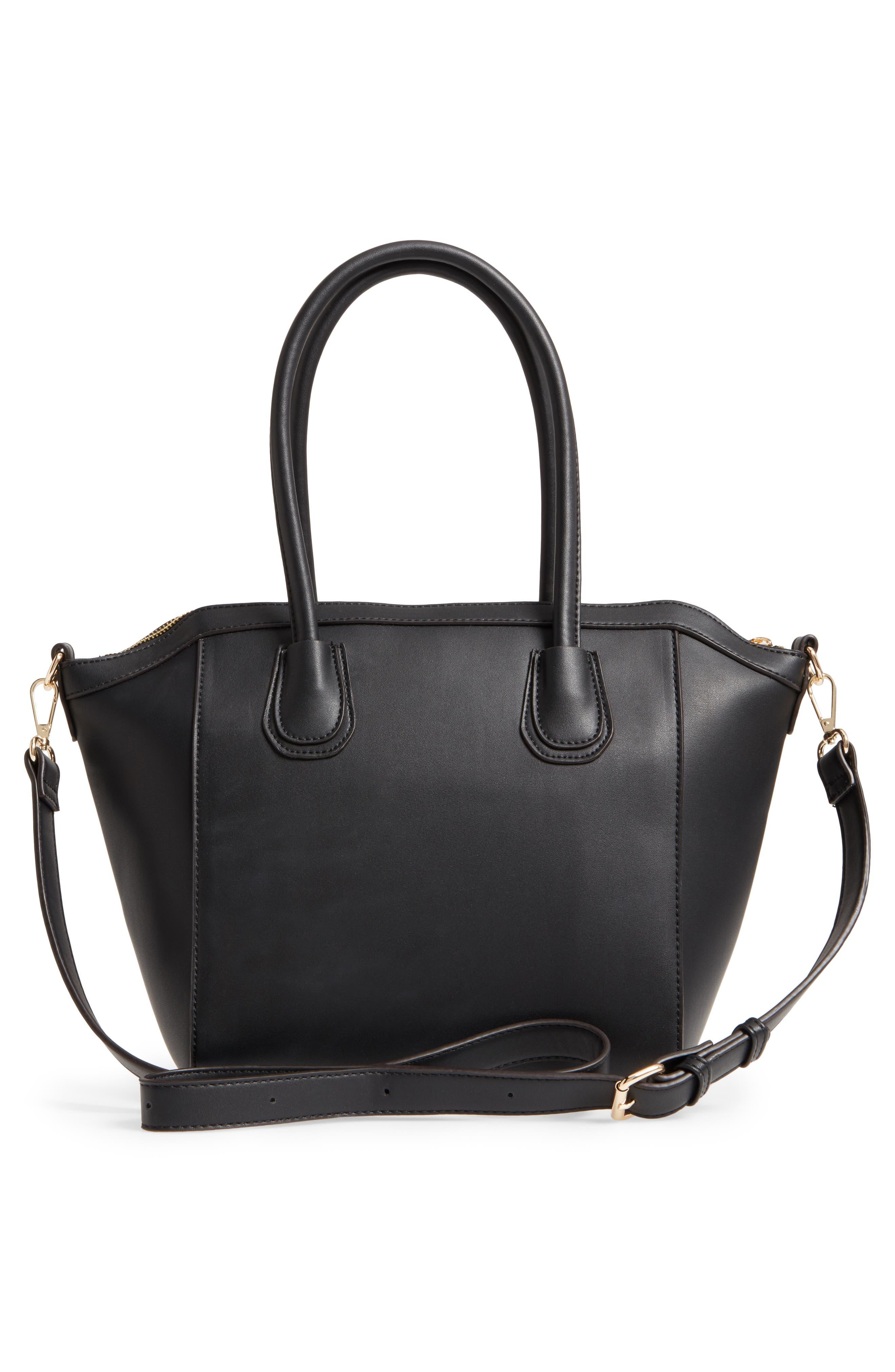Amada Faux Leather Satchel,                             Alternate thumbnail 3, color,                             Black