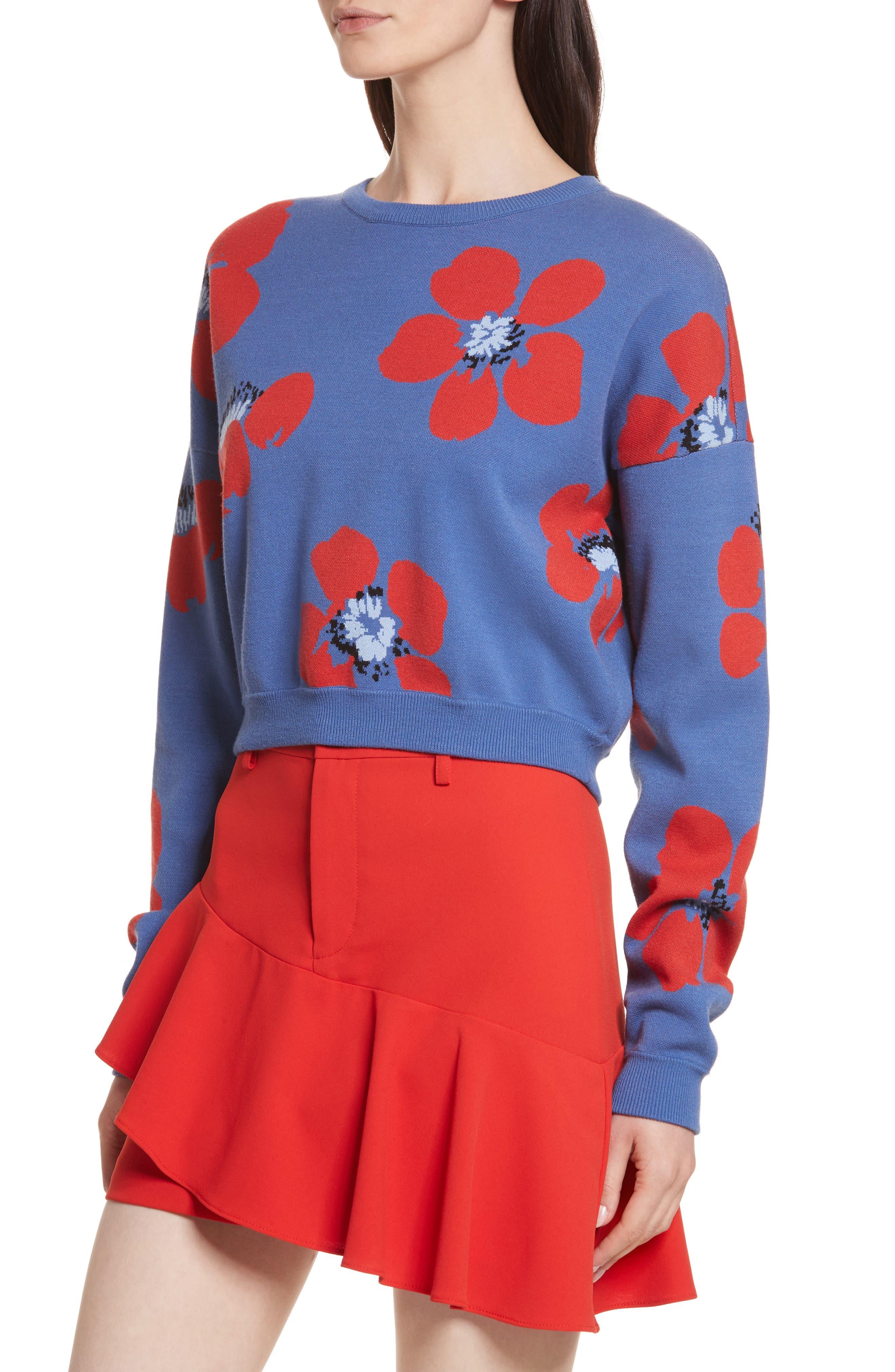 Leena Floral Crop Sweatshirt,                             Alternate thumbnail 4, color,                             Blue Quartz Multi