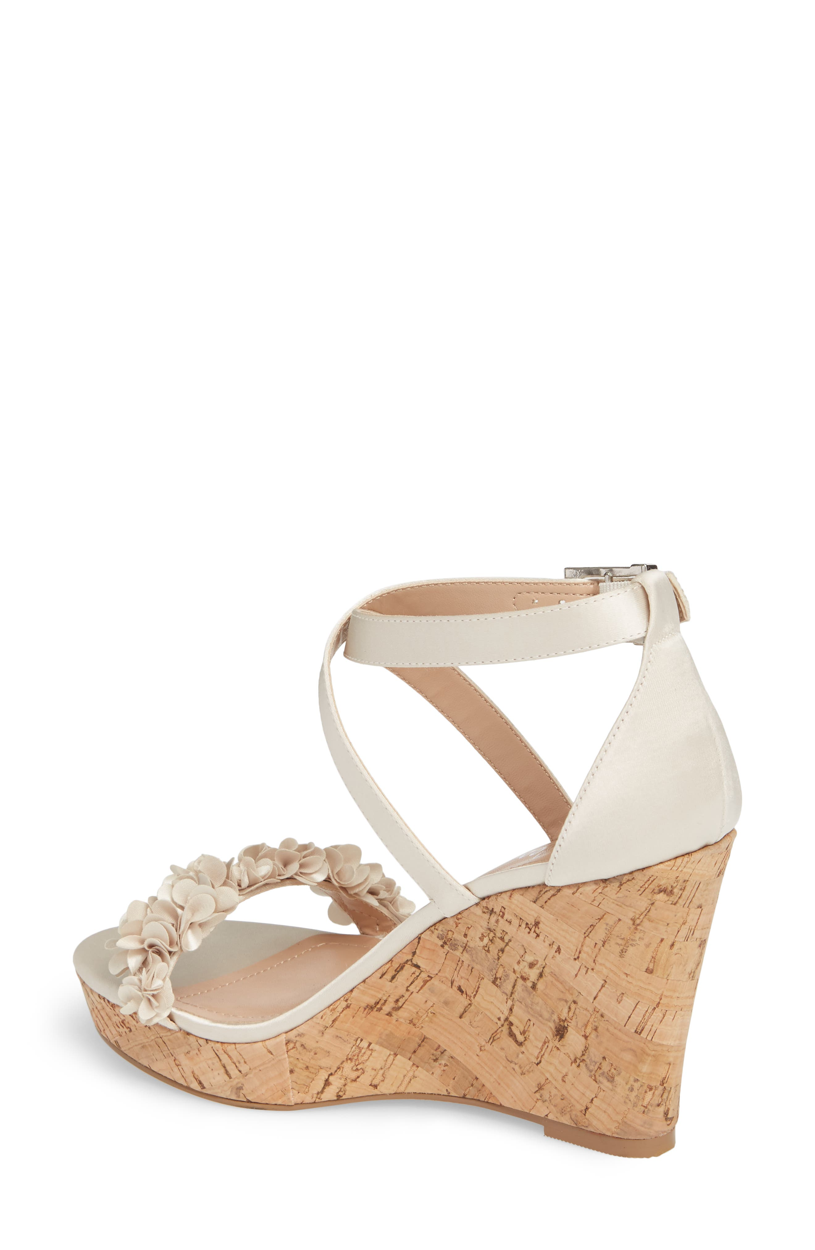 Lauryn Wedge Sandal,                             Alternate thumbnail 2, color,                             Ivory Satin