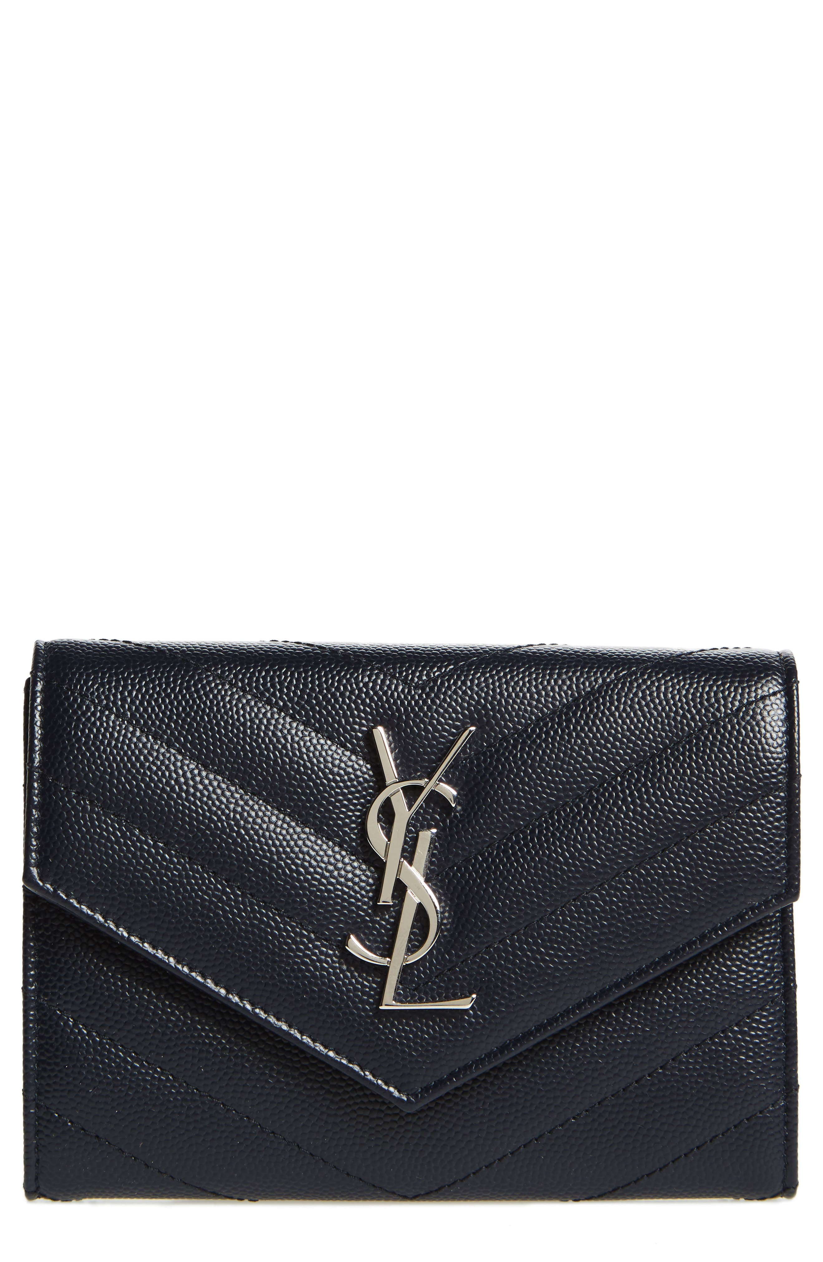 Saint Laurent Monogram Matelassé Leather Passport Case