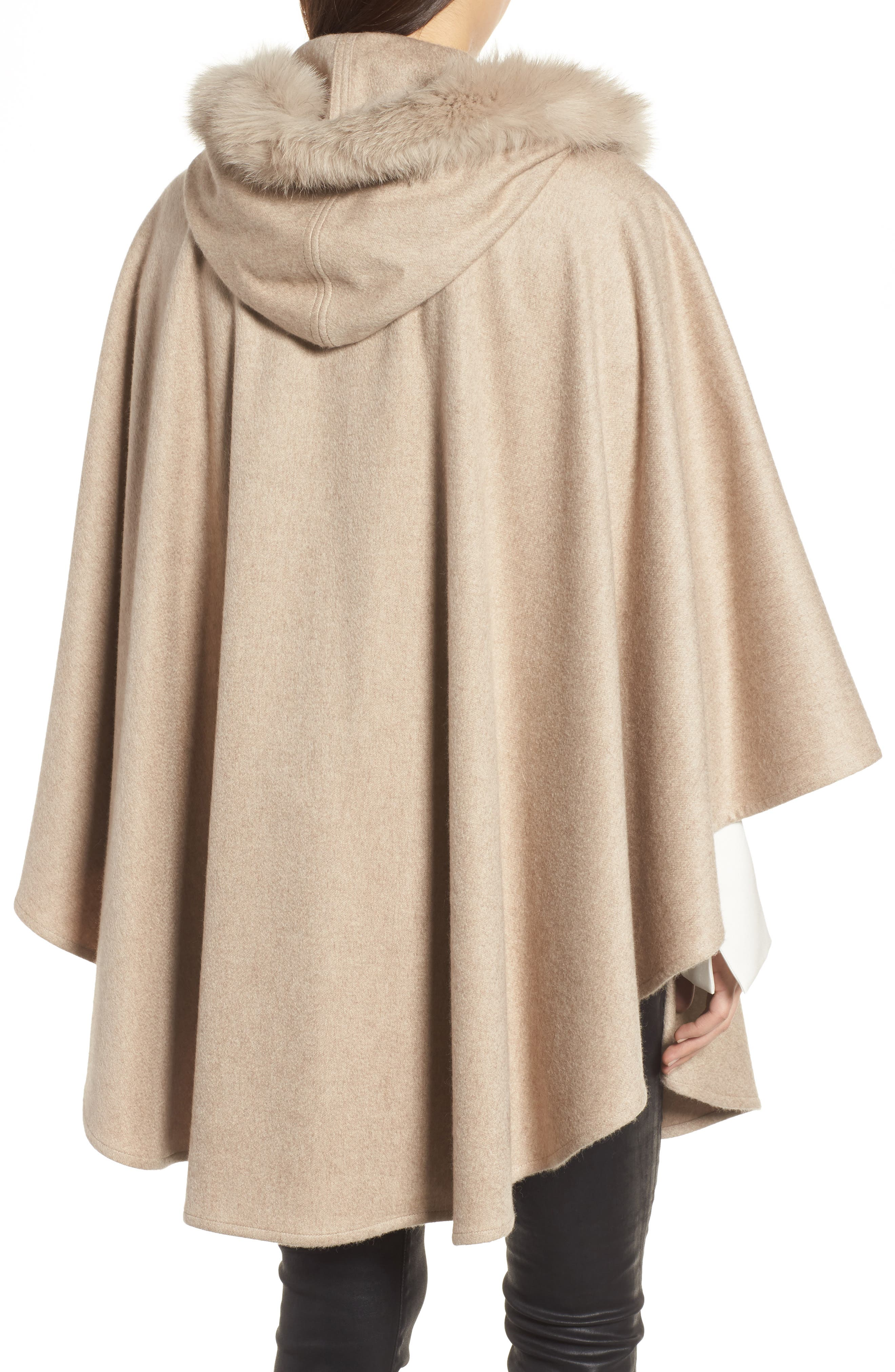 Cashmere Hooded Cape with Genuine Fox Fur Trim,                             Alternate thumbnail 2, color,                             Beige