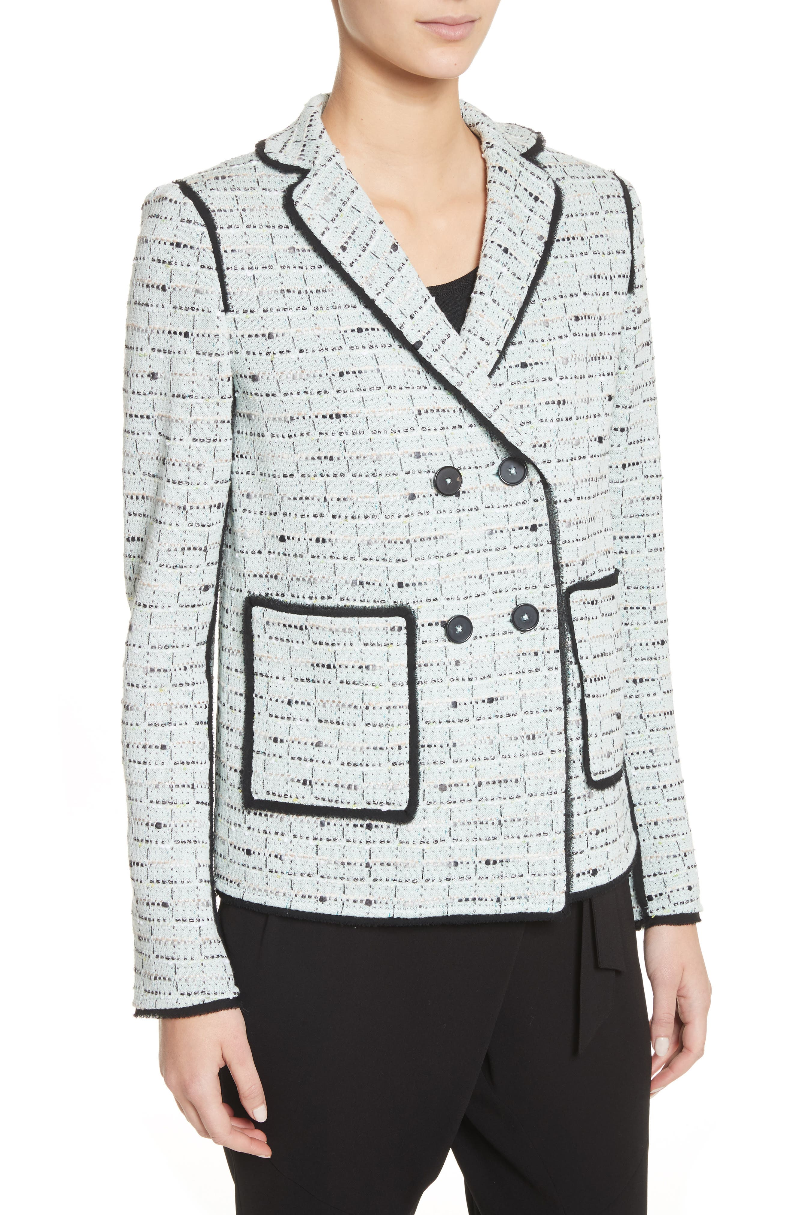 Adriana Tweed Double Breasted Blazer,                             Alternate thumbnail 4, color,                             Mint Multi