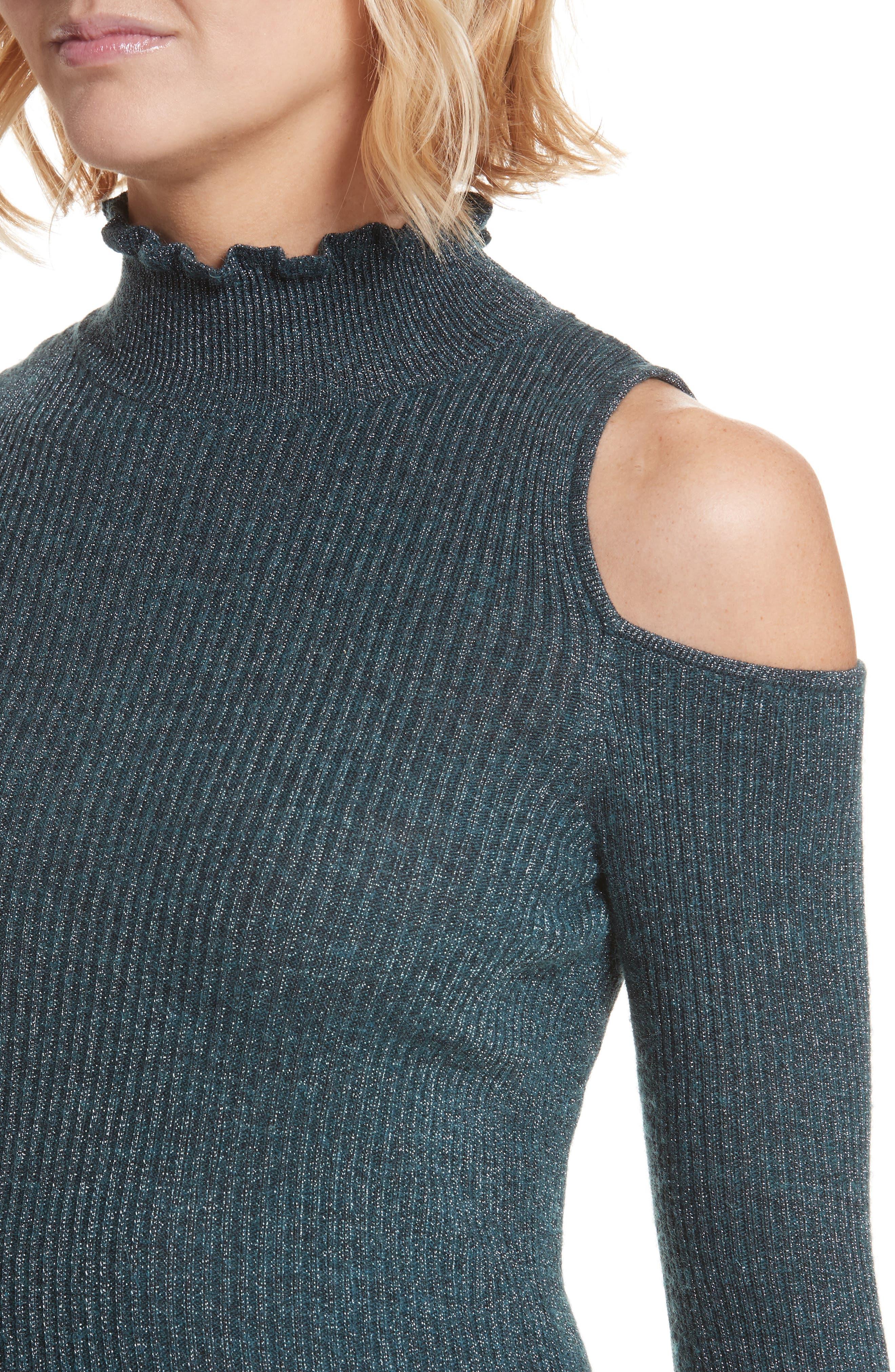 Alternate Image 4  - Rebecca Taylor Metallic Cold Shoulder Pullover