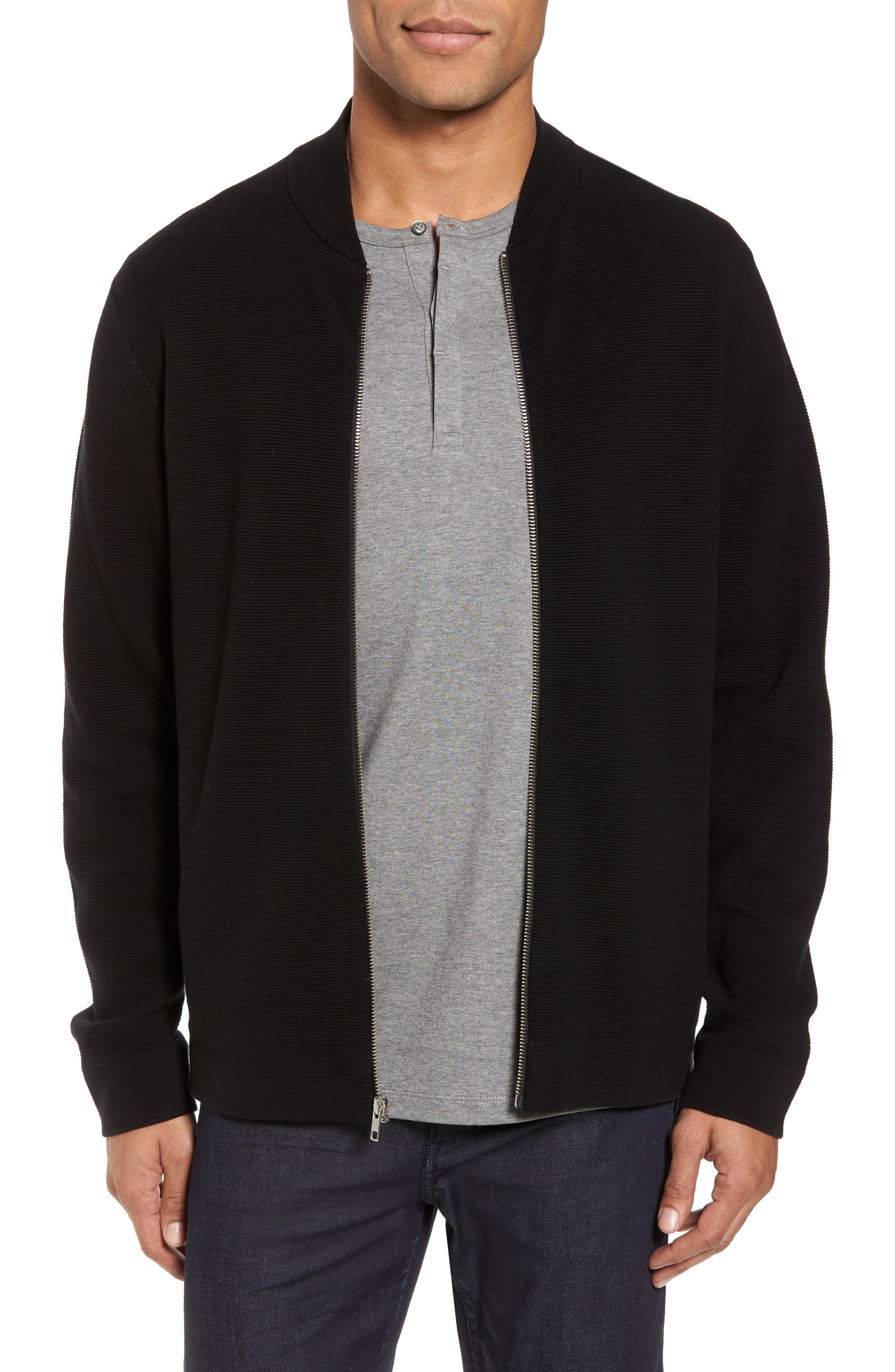Ottoman Zip Cardigan,                         Main,                         color, Black
