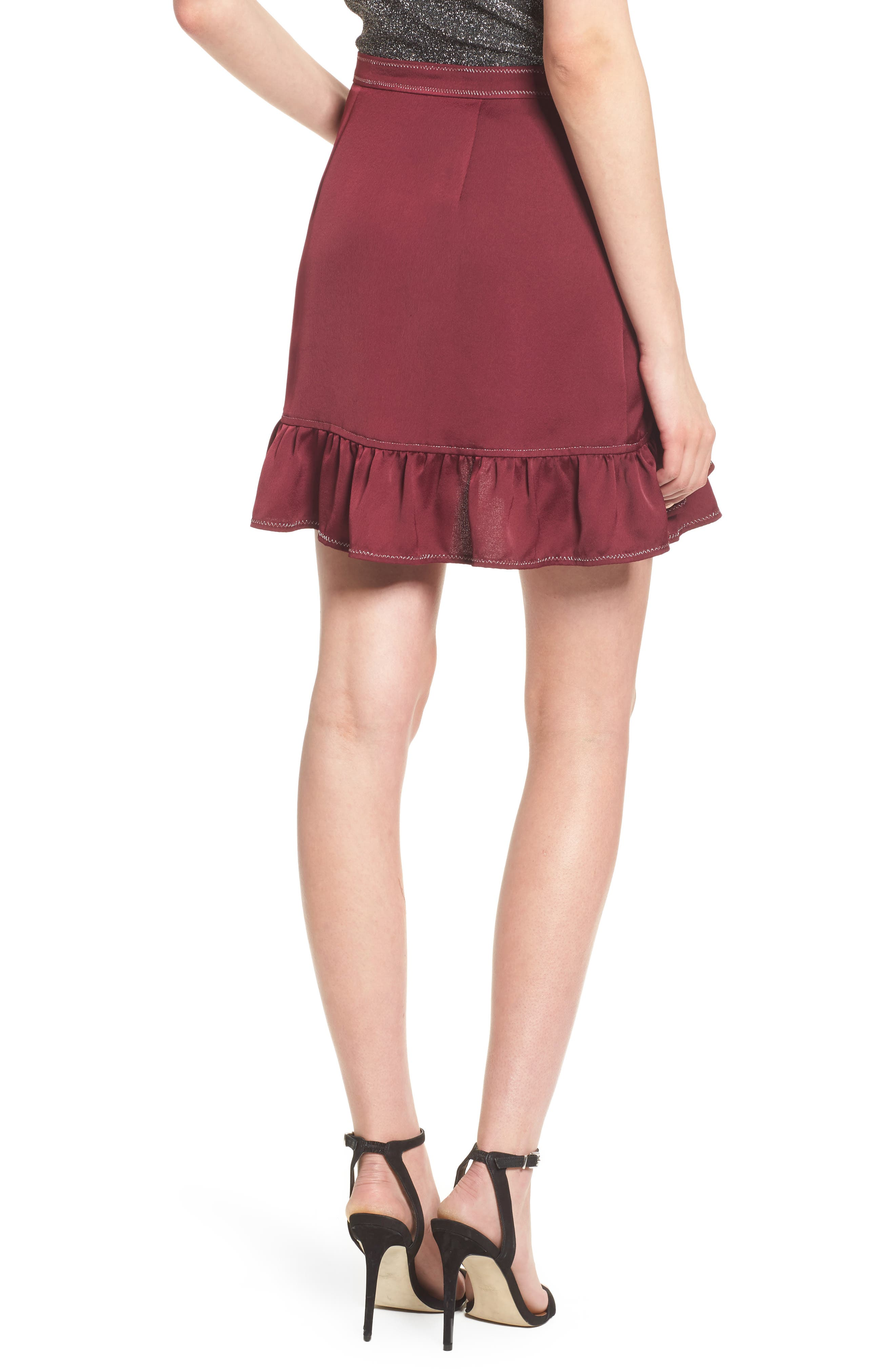 Brielle Ruffle Miniskirt,                             Alternate thumbnail 2, color,                             Frosted Grape