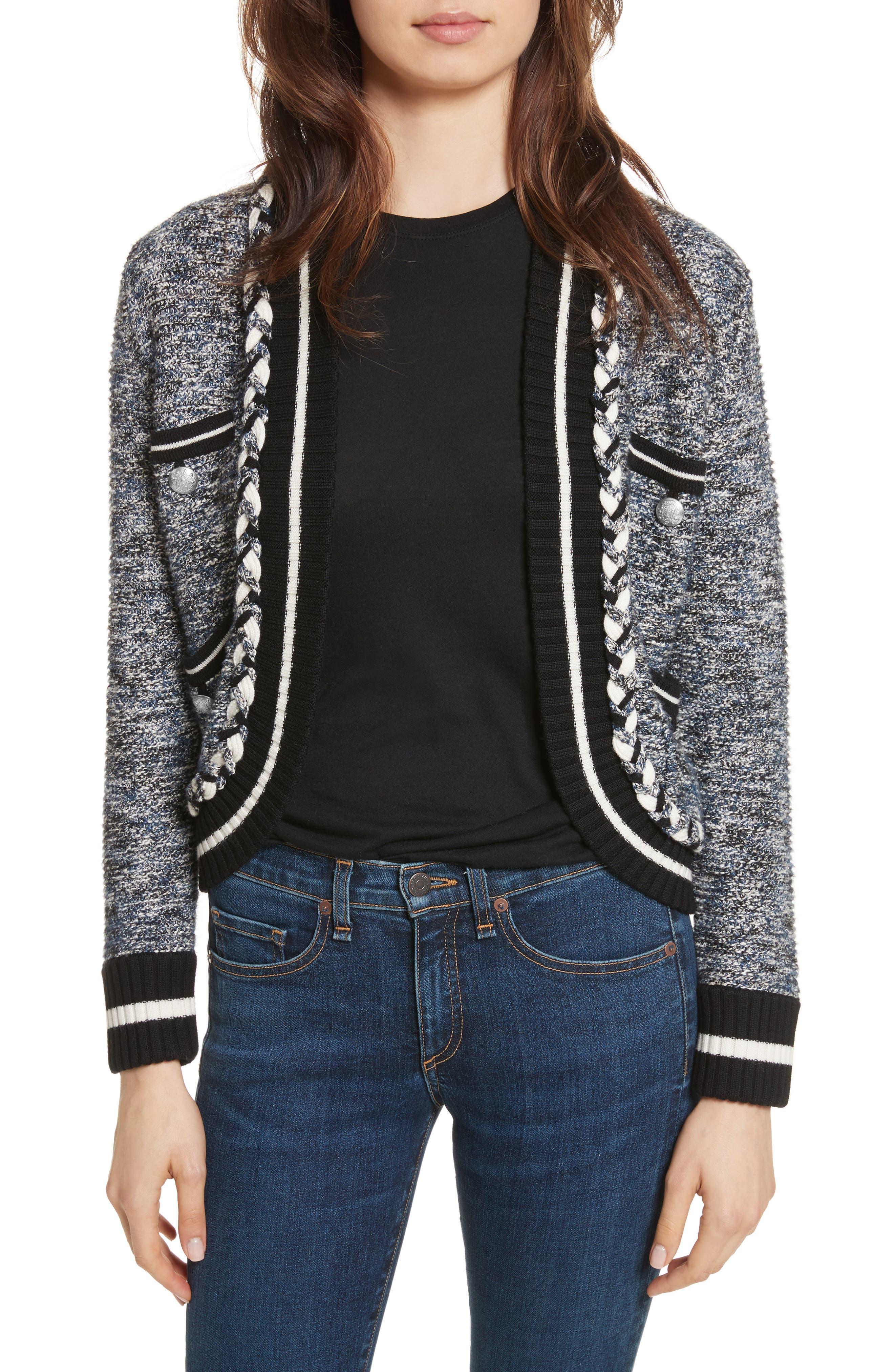 Davis Tweed Sweater Jacket,                         Main,                         color, Navy