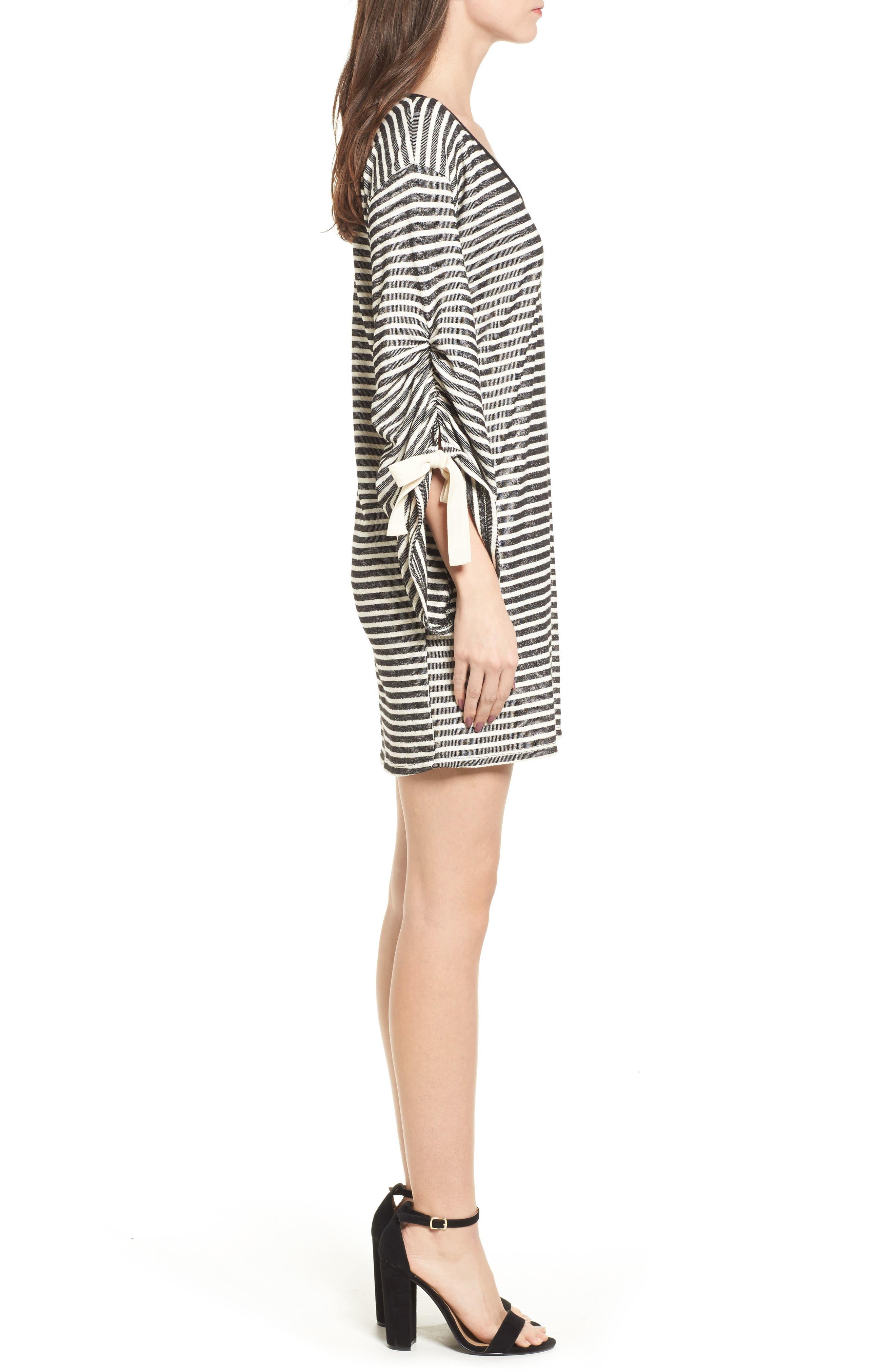 Tie Sleeve Sweatshirt Dress,                             Alternate thumbnail 3, color,                             Black/ Ivory