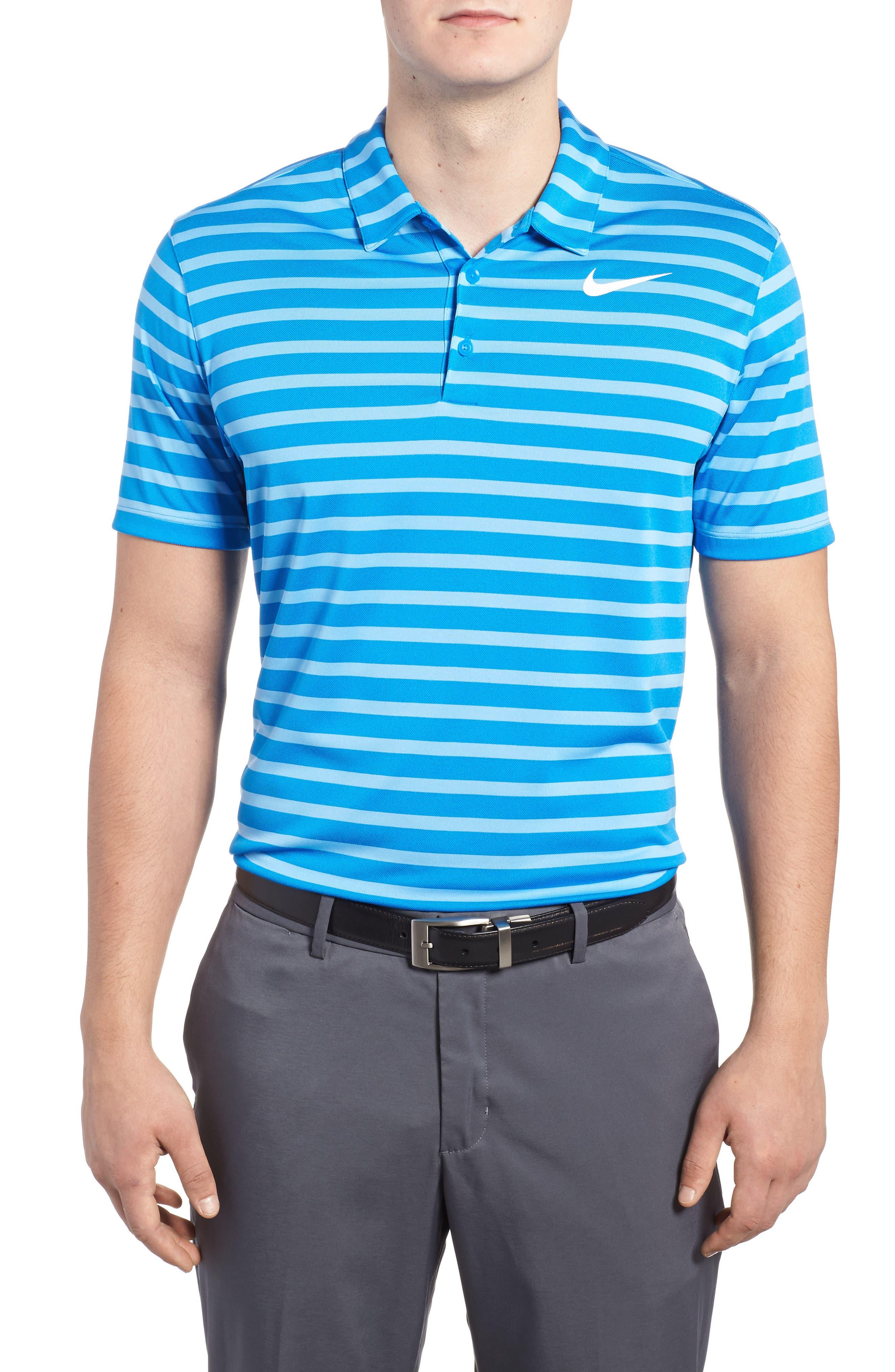 Golf Stripe Polo,                             Main thumbnail 1, color,                             Photo Blue/ White