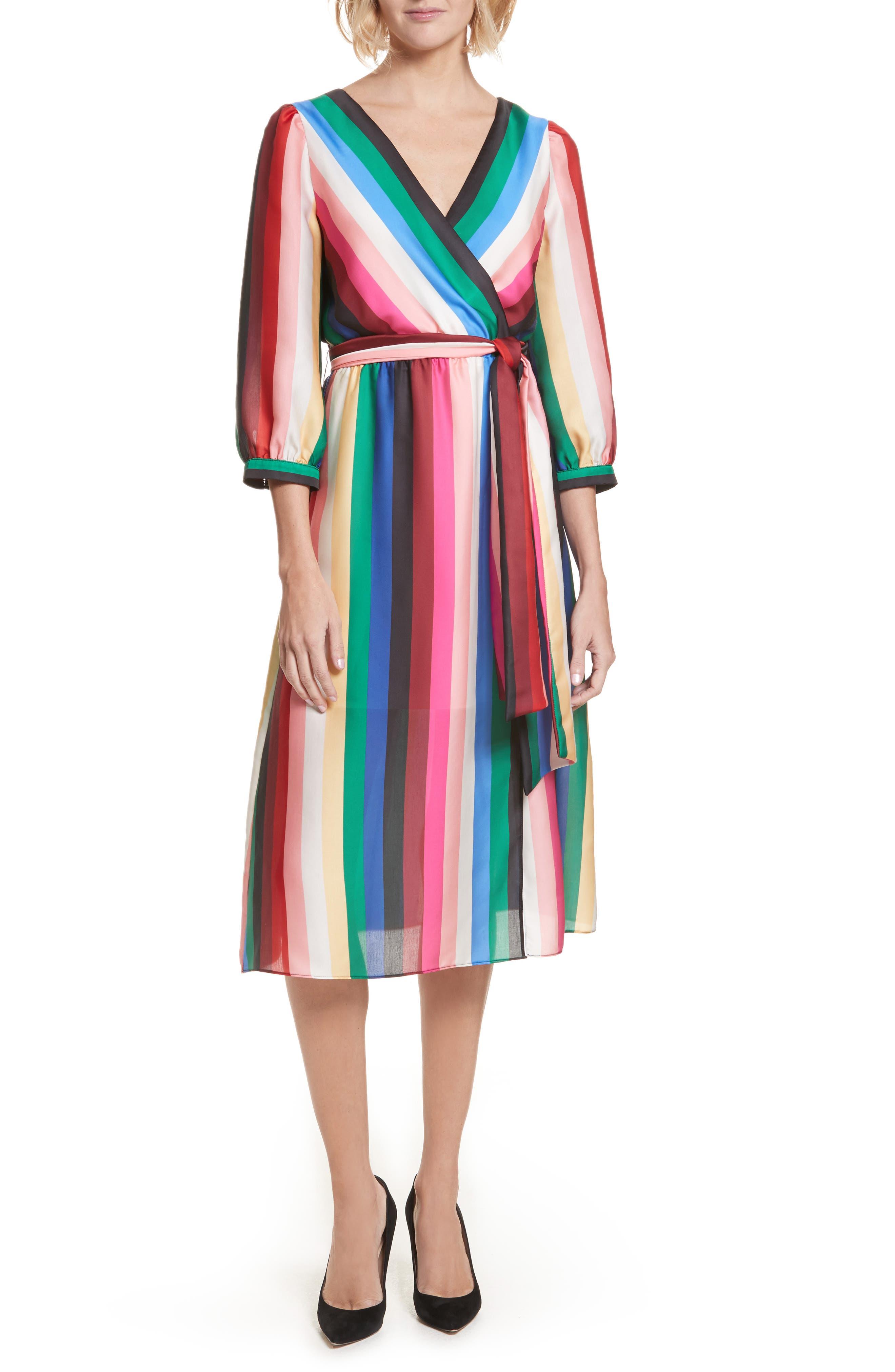 Dyanna Midi Dress,                         Main,                         color, Rainbow Stripe