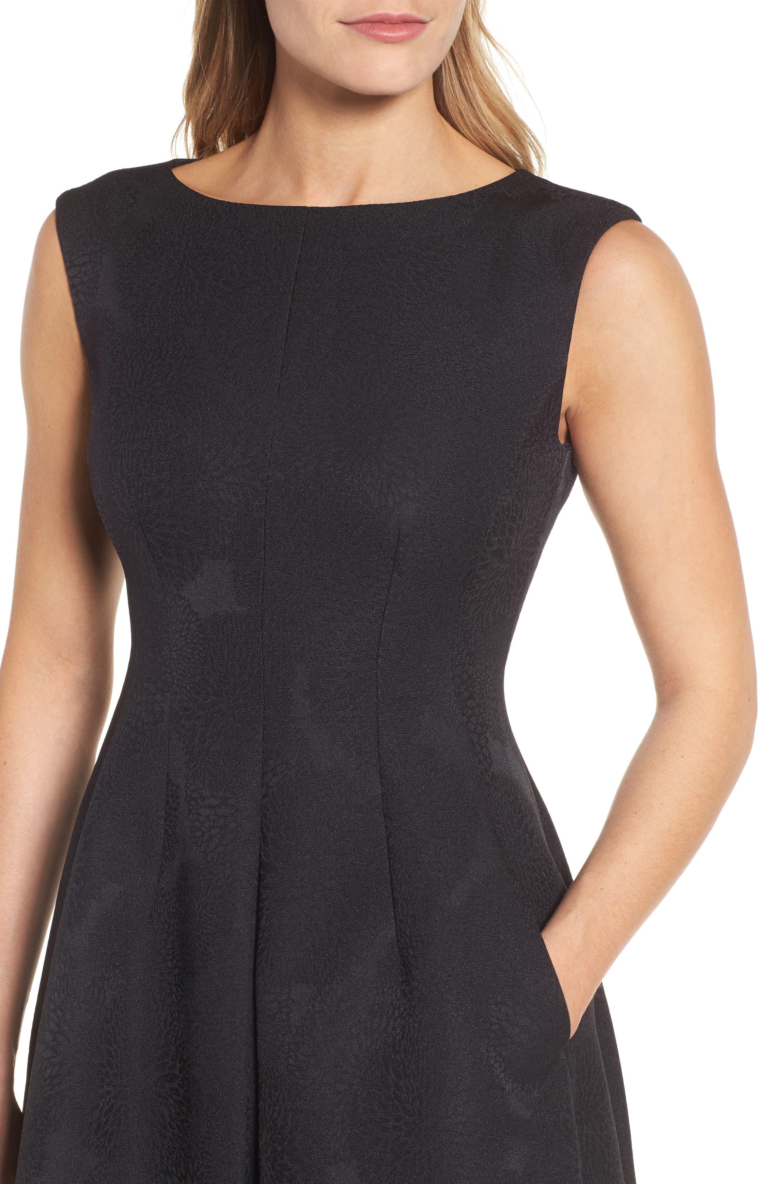 Jacqaurd Fit & Flare Dress,                             Alternate thumbnail 4, color,                             Black