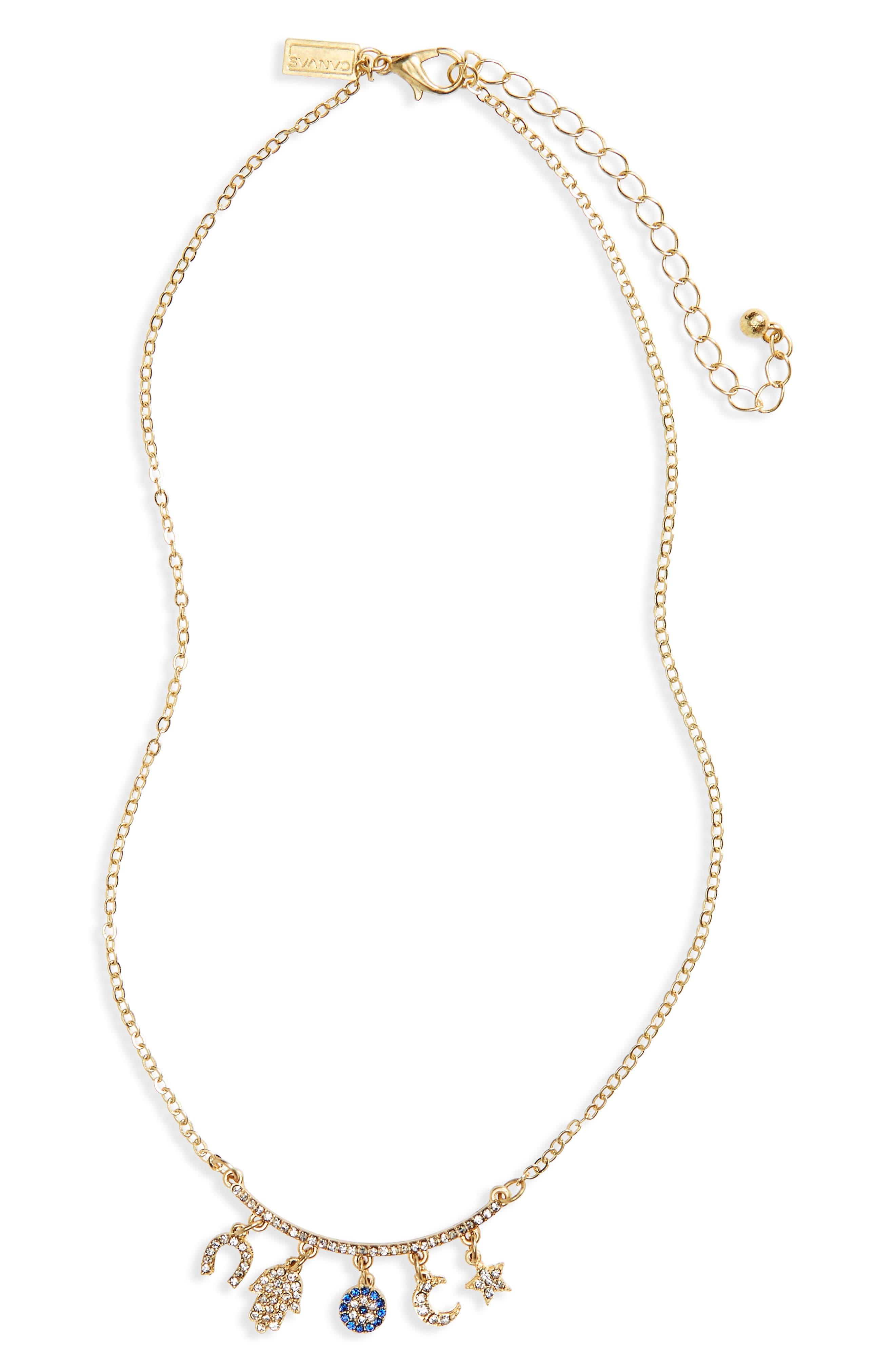 Celestial Pavé Crystal Necklace,                         Main,                         color, Gold