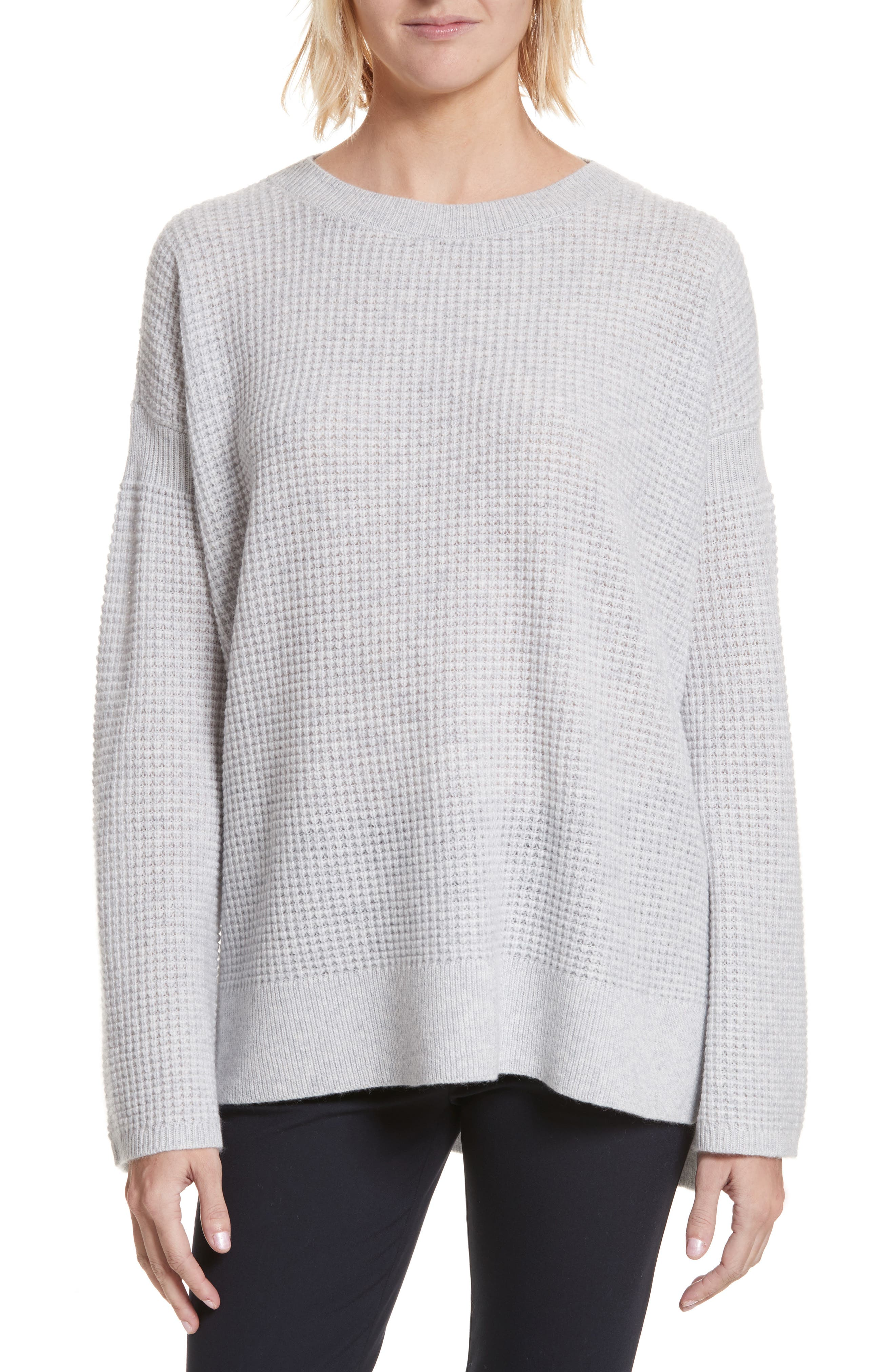 Cinch Sleeve Cashmere Sweater,                         Main,                         color, Whale Grey