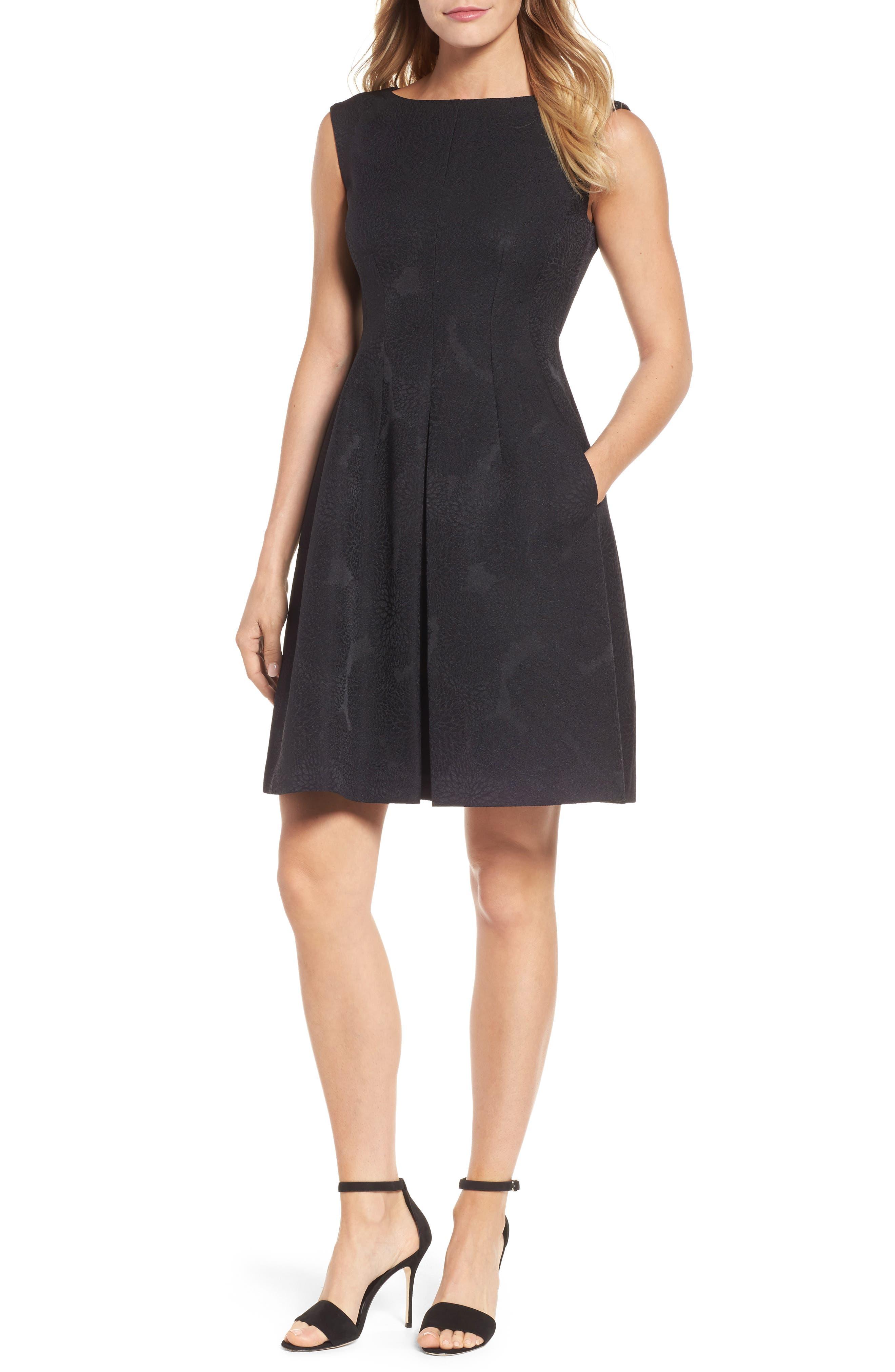 Jacqaurd Fit & Flare Dress,                             Main thumbnail 1, color,                             Black
