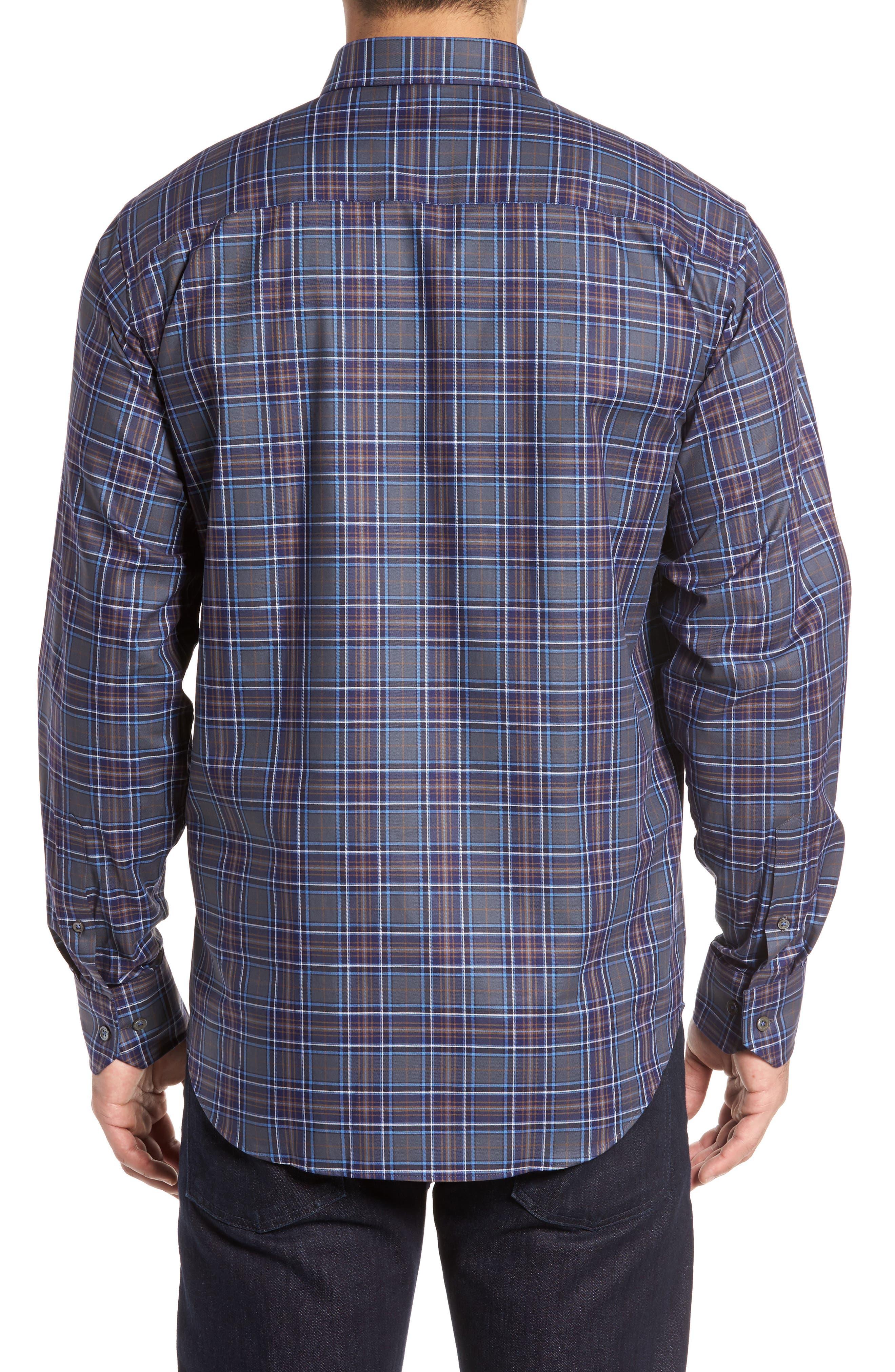 Shaped Fit Plaid Sport Shirt,                             Alternate thumbnail 2, color,                             Graphite