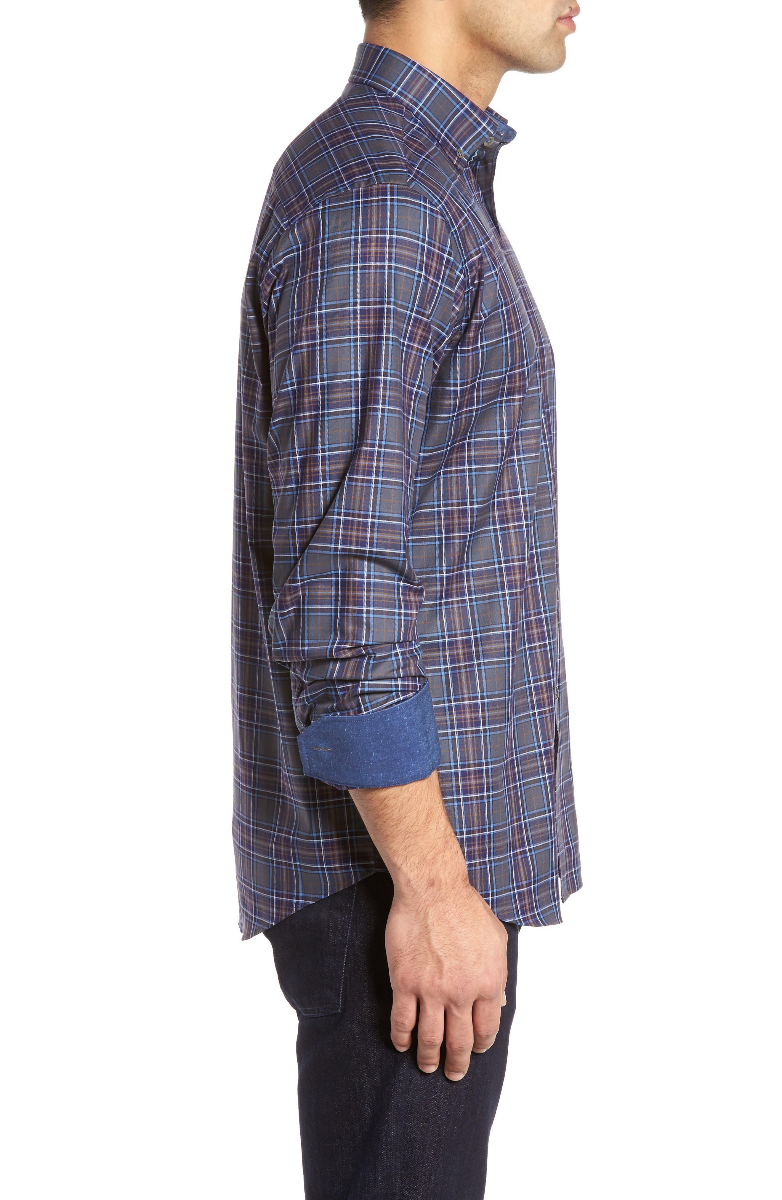 Shaped Fit Plaid Sport Shirt,                             Alternate thumbnail 3, color,                             Graphite