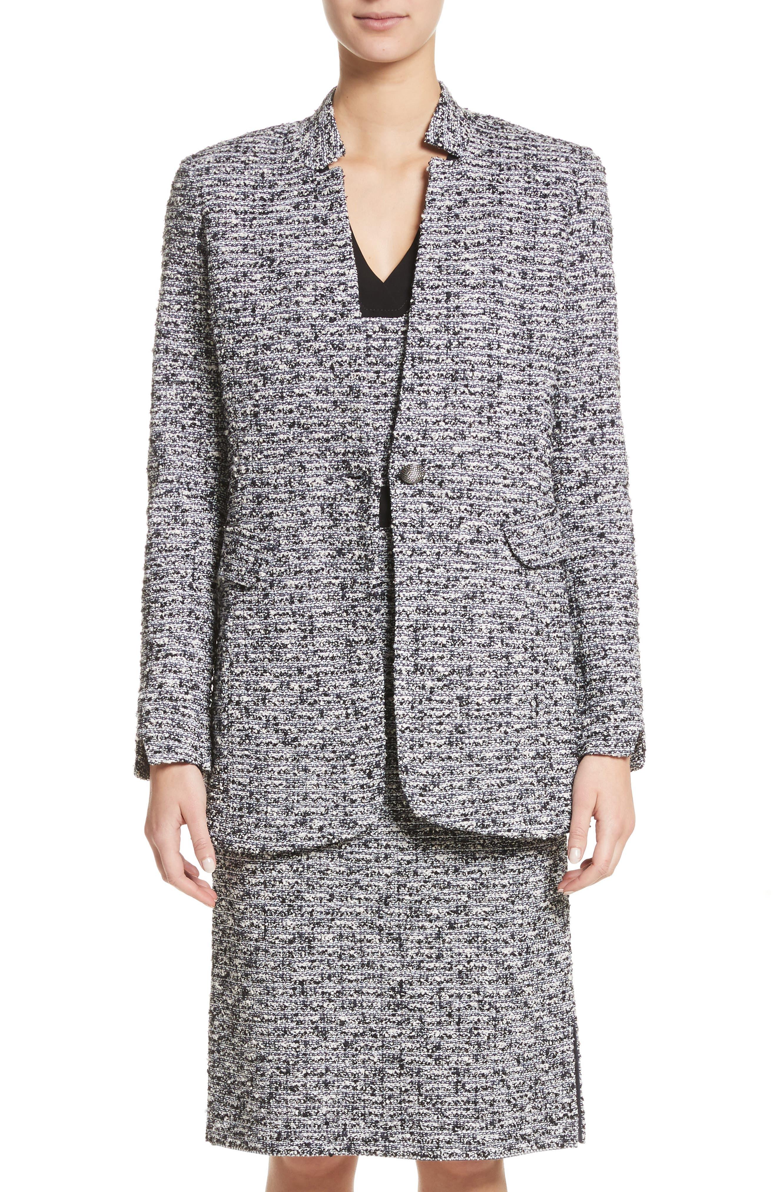 Micro Tweed Blazer,                         Main,                         color, Caviar/ Bianco Multi