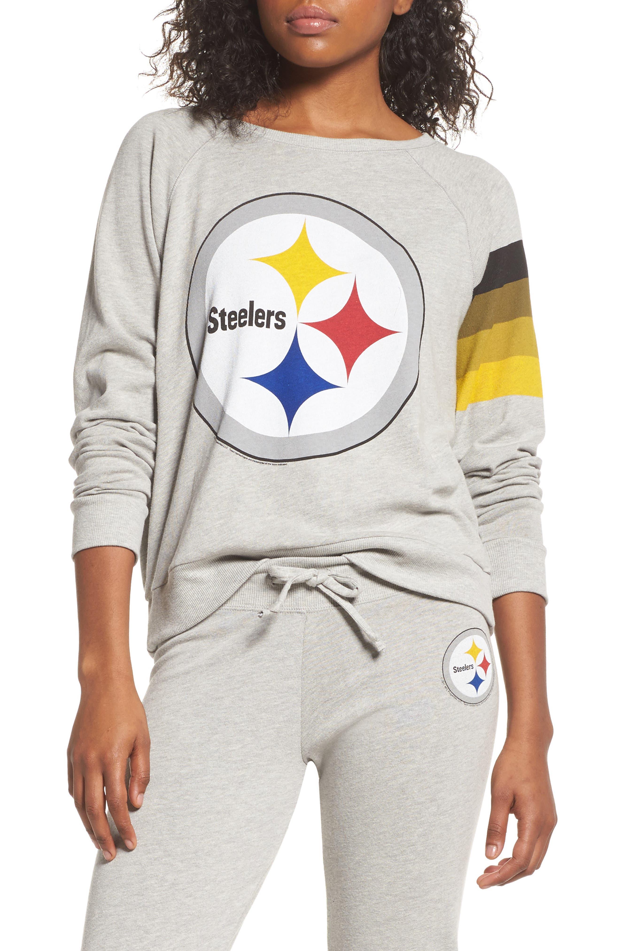 NFL Pittsburgh Steelers Hacci Sweatshirt,                         Main,                         color, Dove Heather Grey