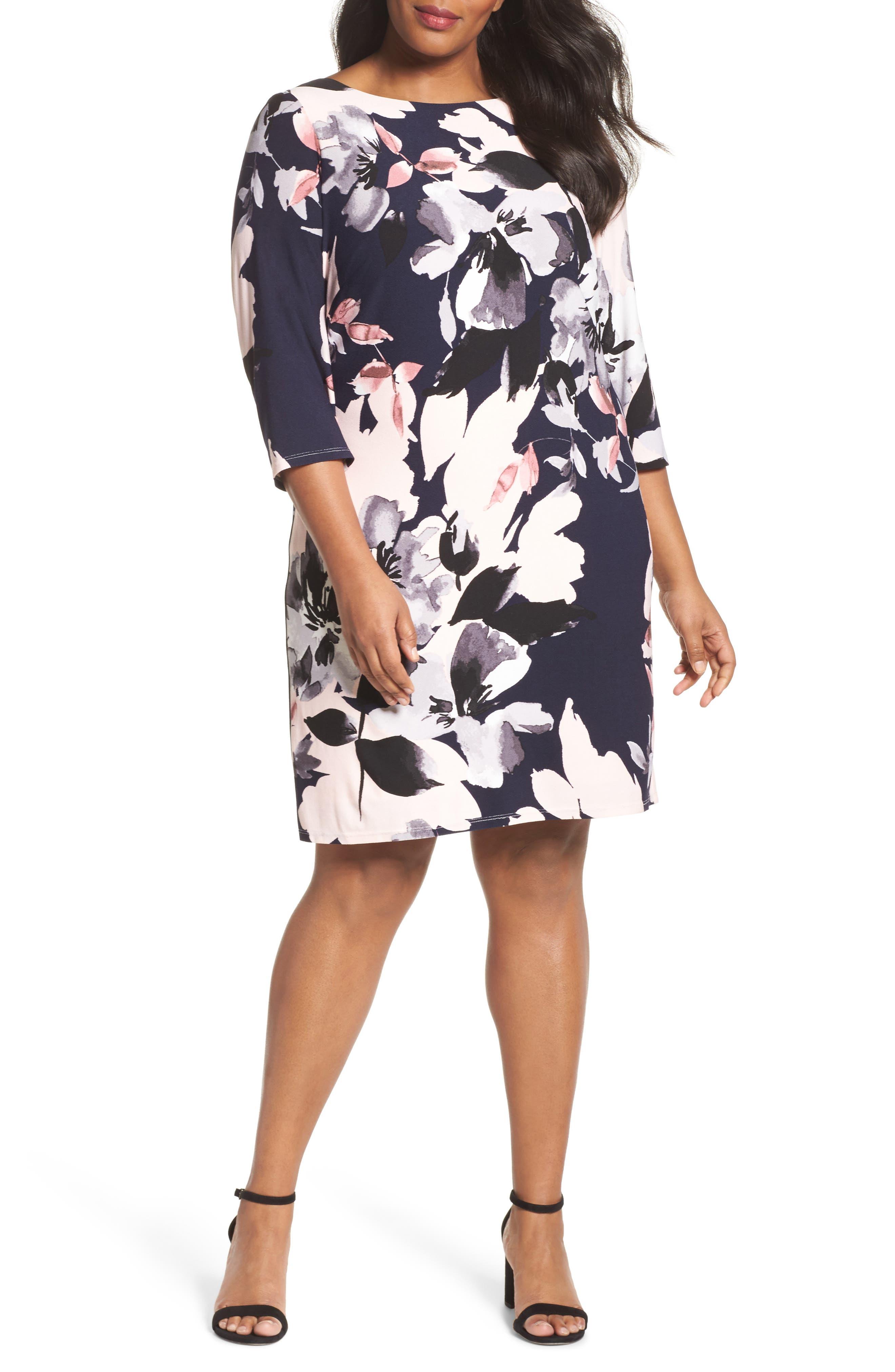 Floral Knit Sheath Dress,                             Main thumbnail 1, color,                             Navy Multi