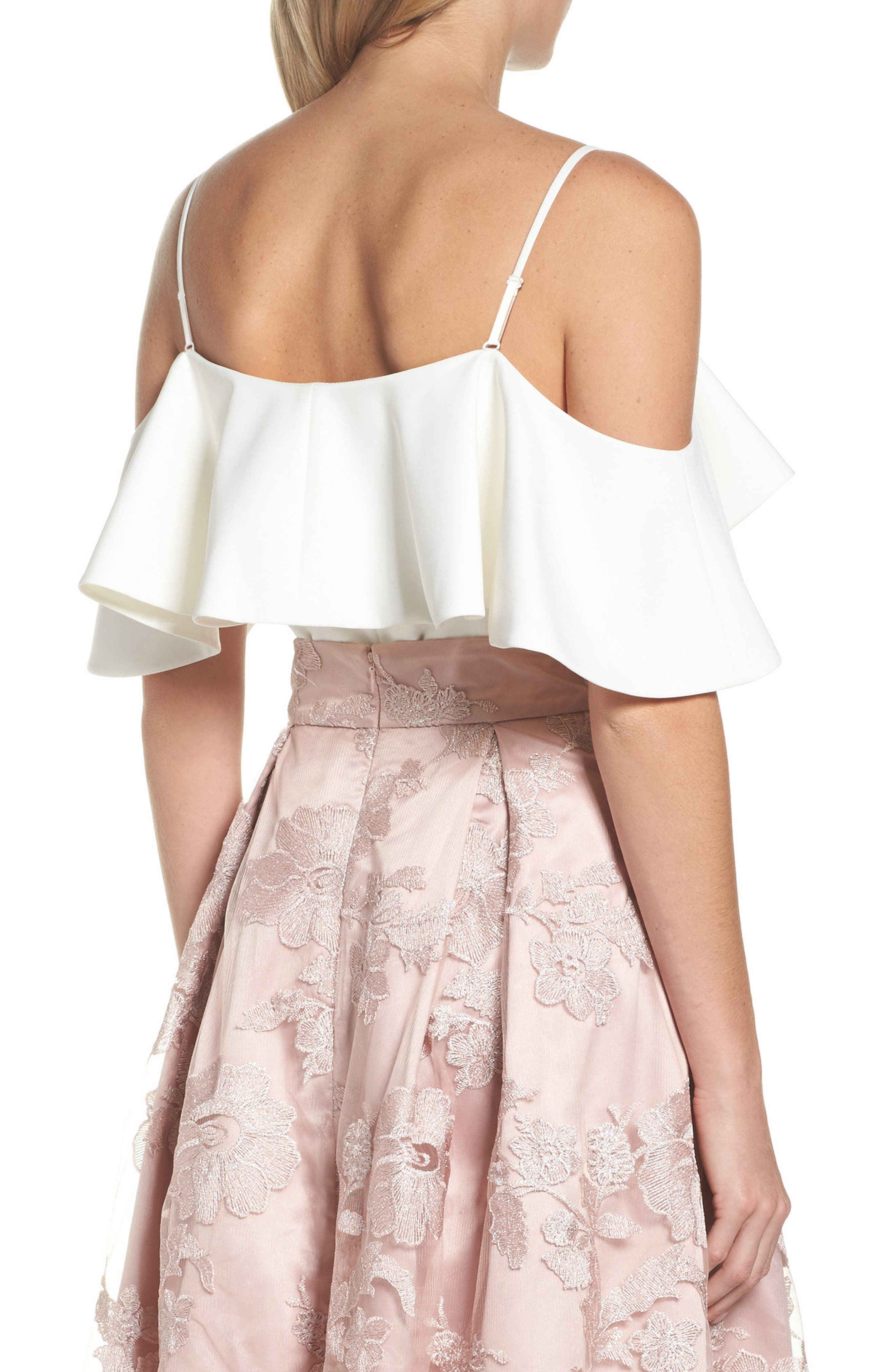Ruffled Cold Shoulder Top,                             Alternate thumbnail 2, color,                             Ivory