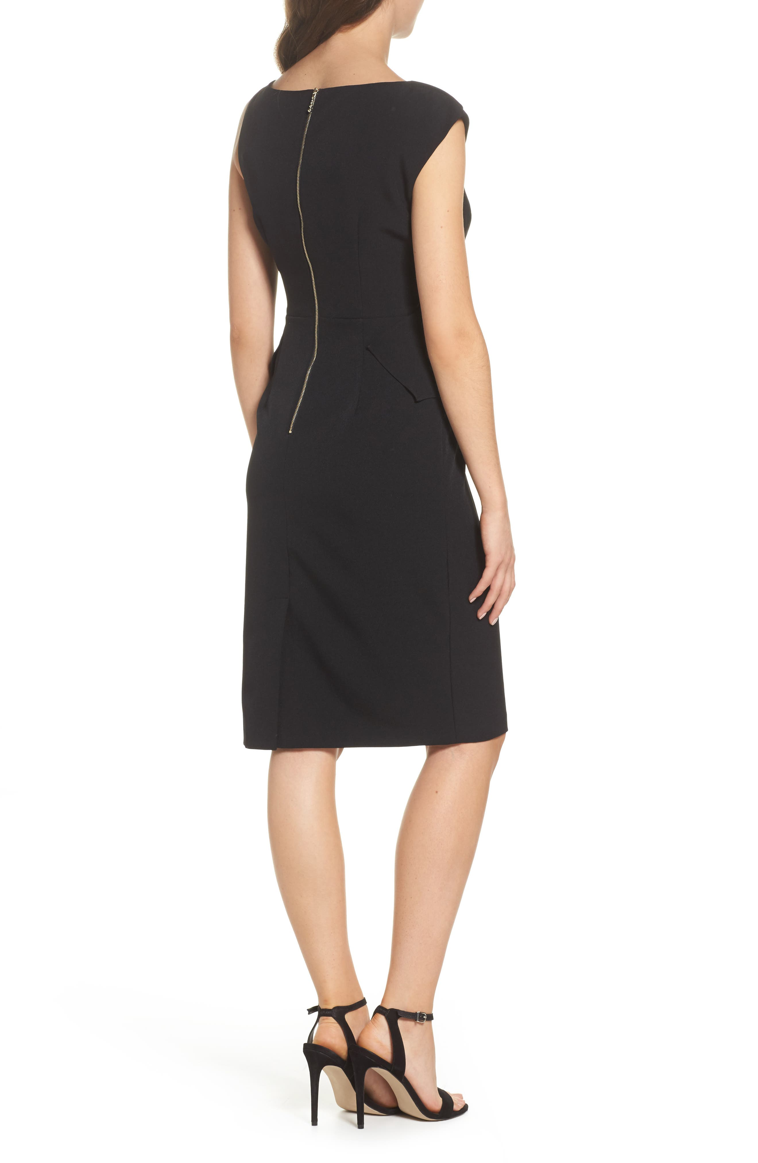 Crepe Sheath Dress,                             Alternate thumbnail 2, color,                             Black