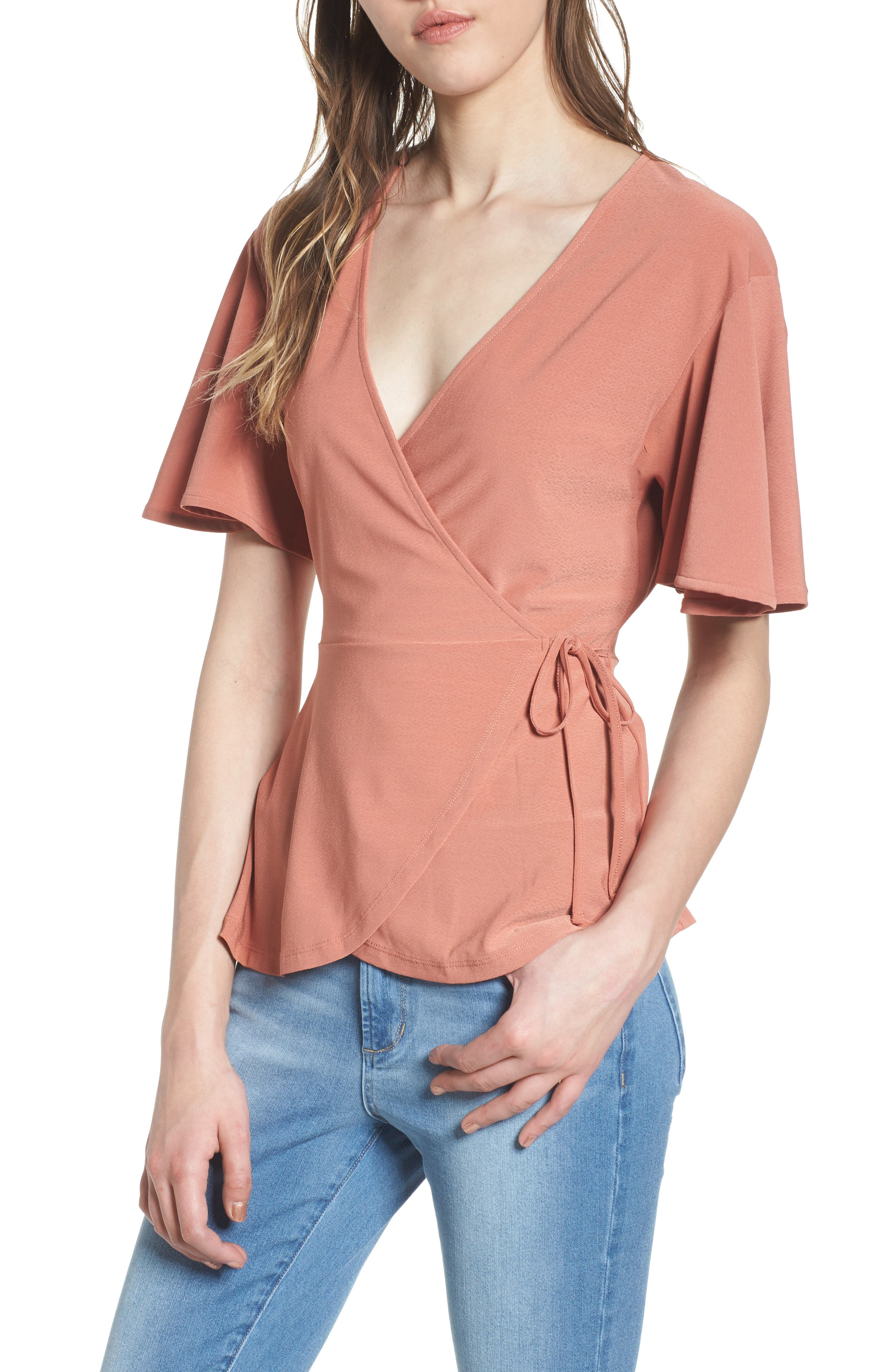 Alternate Image 1 Selected - Leith Flounce Sleeve Faux Wrap Top