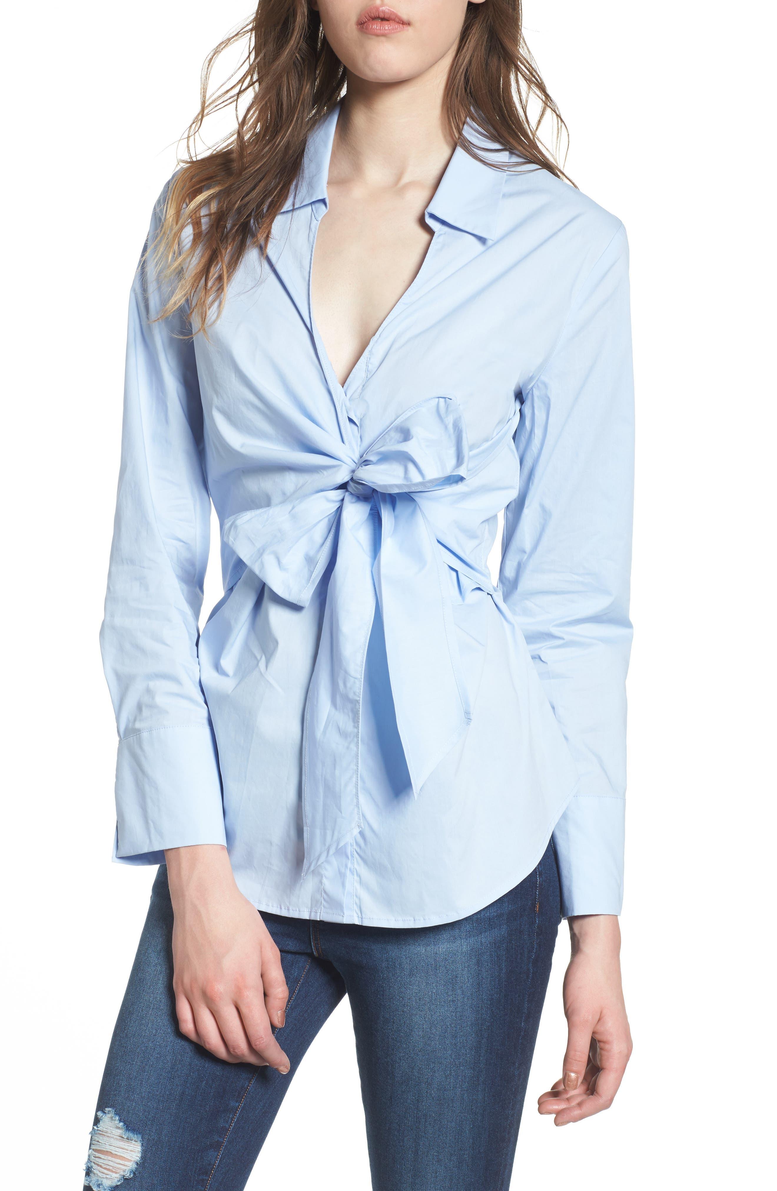 Tie Front Poplin Blouse,                             Main thumbnail 1, color,                             Light Blue