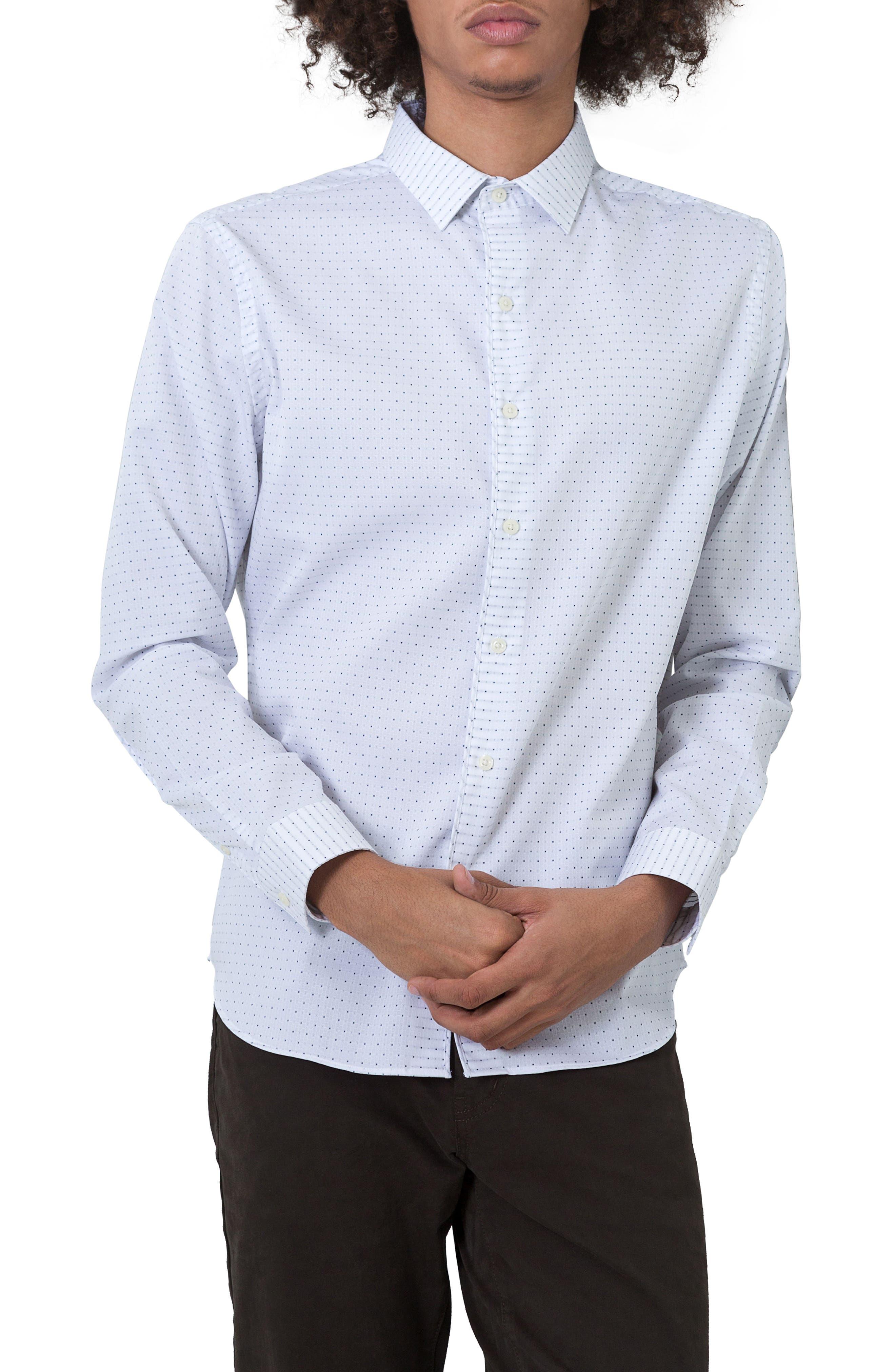 Echos Microprint Sport Shirt,                         Main,                         color, White