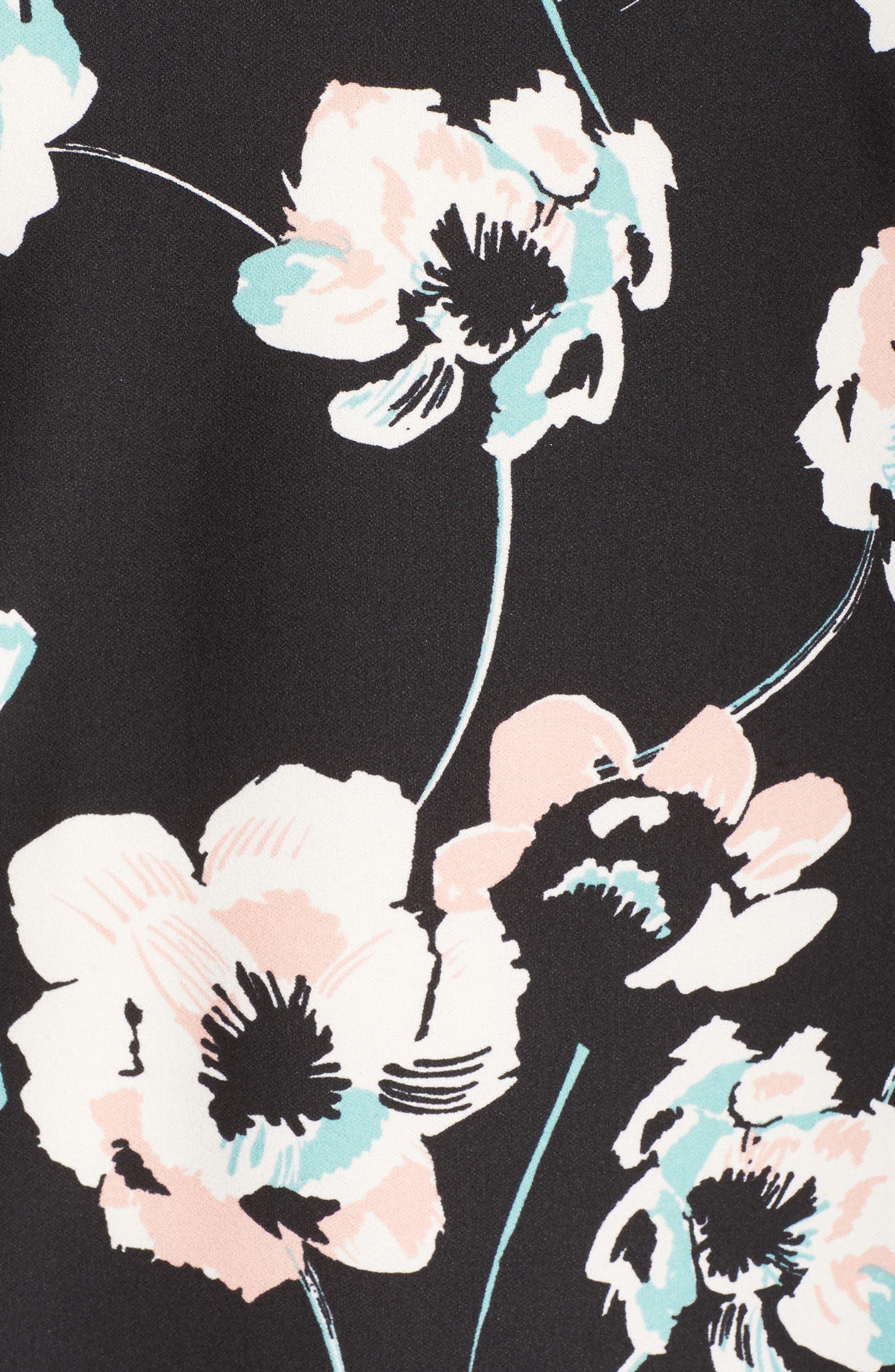 Slit Sleeve Floral Shift Dress,                             Alternate thumbnail 5, color,                             Black