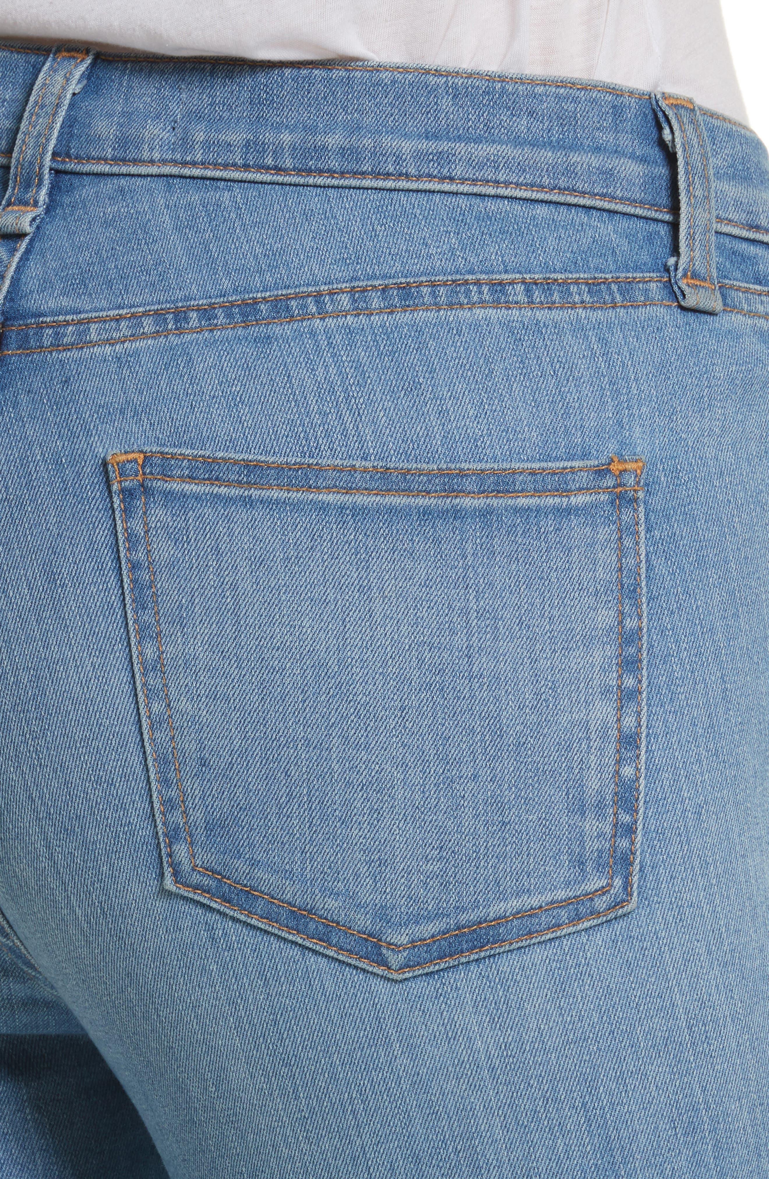 Debbie High Waist Fray Hem Jeans,                             Alternate thumbnail 4, color,                             Retro Blue