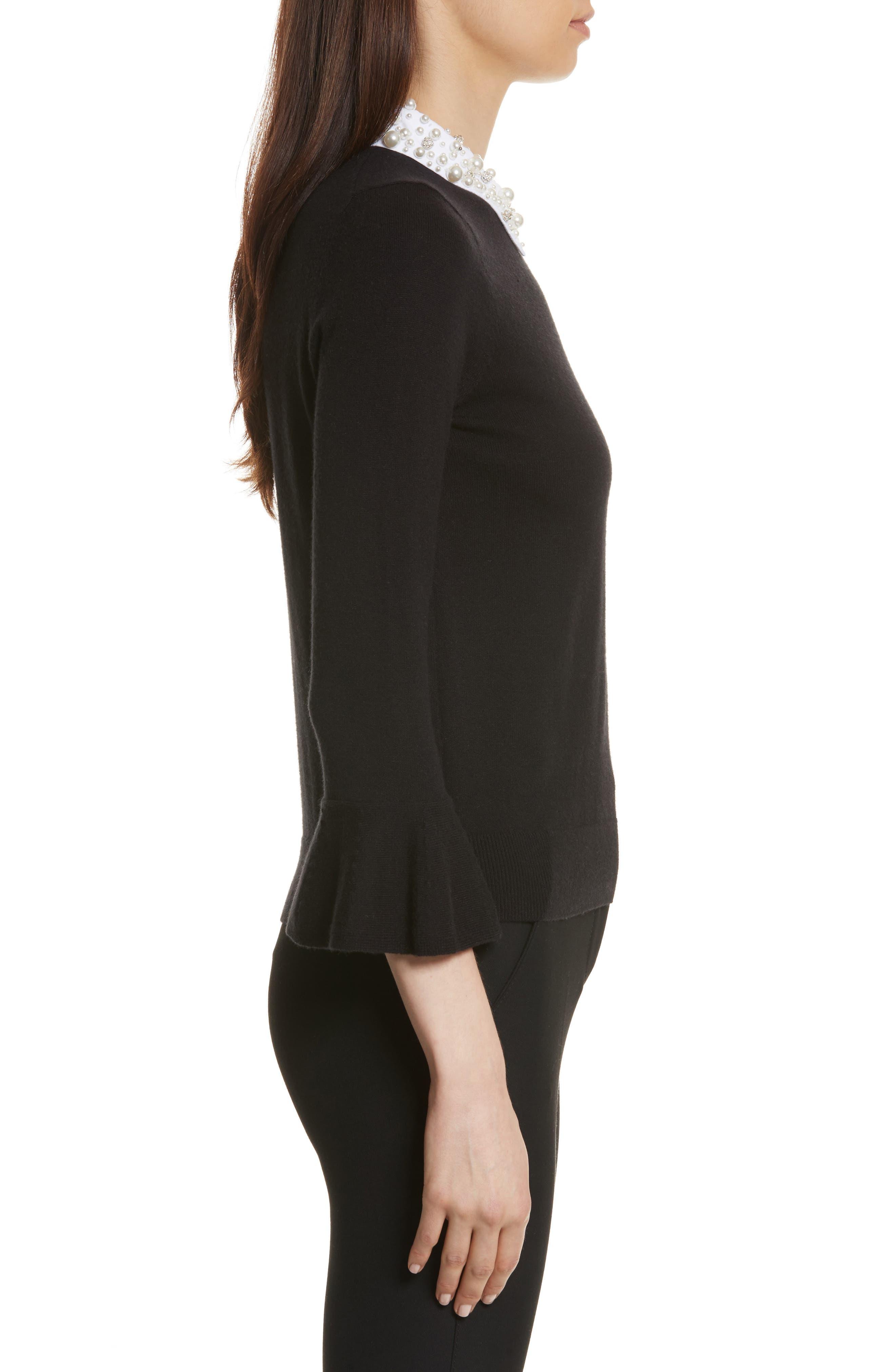 embellished collar sweater,                             Alternate thumbnail 3, color,                             Black