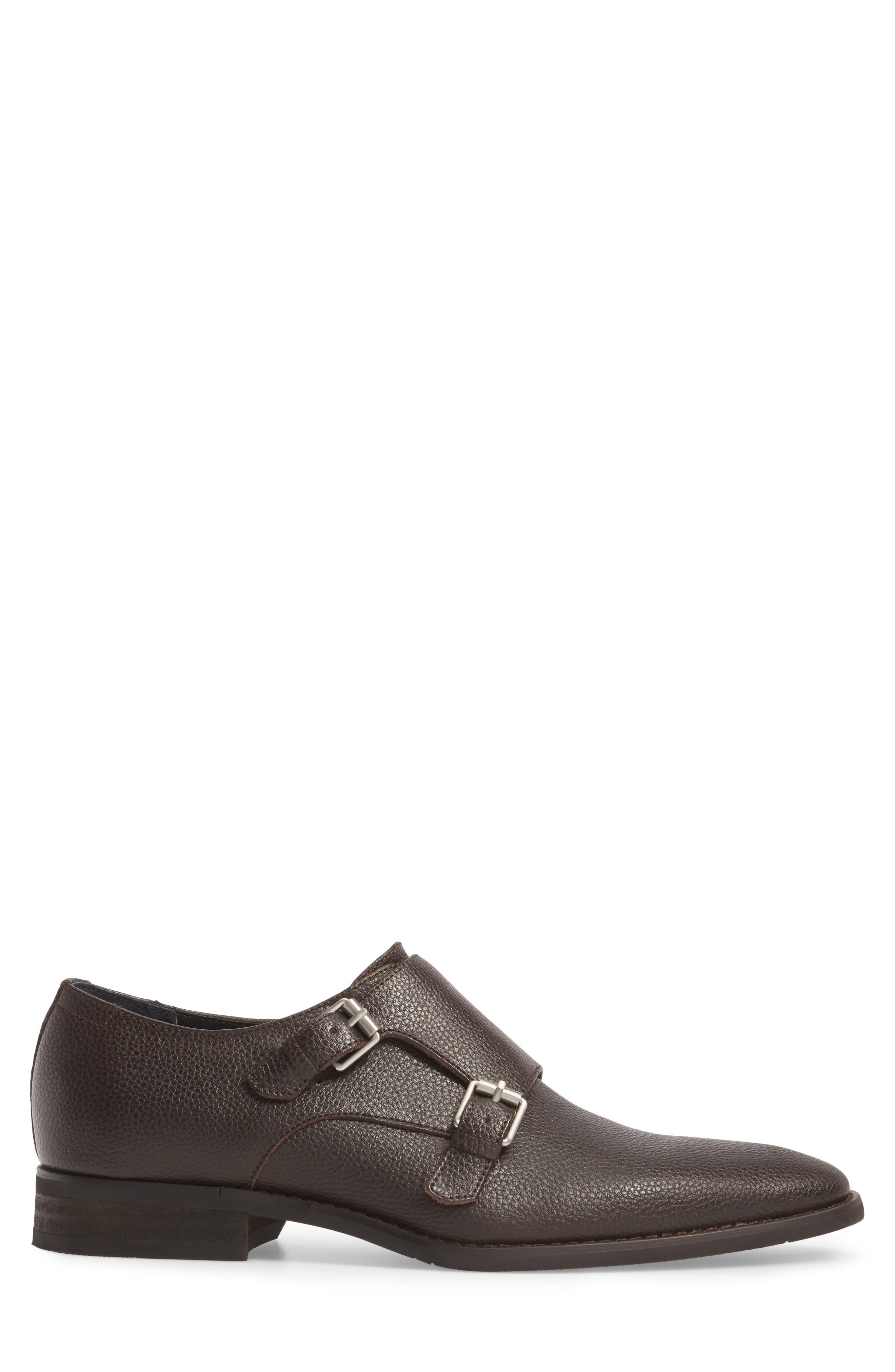 Robbie Double Monk Strap Shoe,                             Alternate thumbnail 3, color,                             Dark Brown Leather