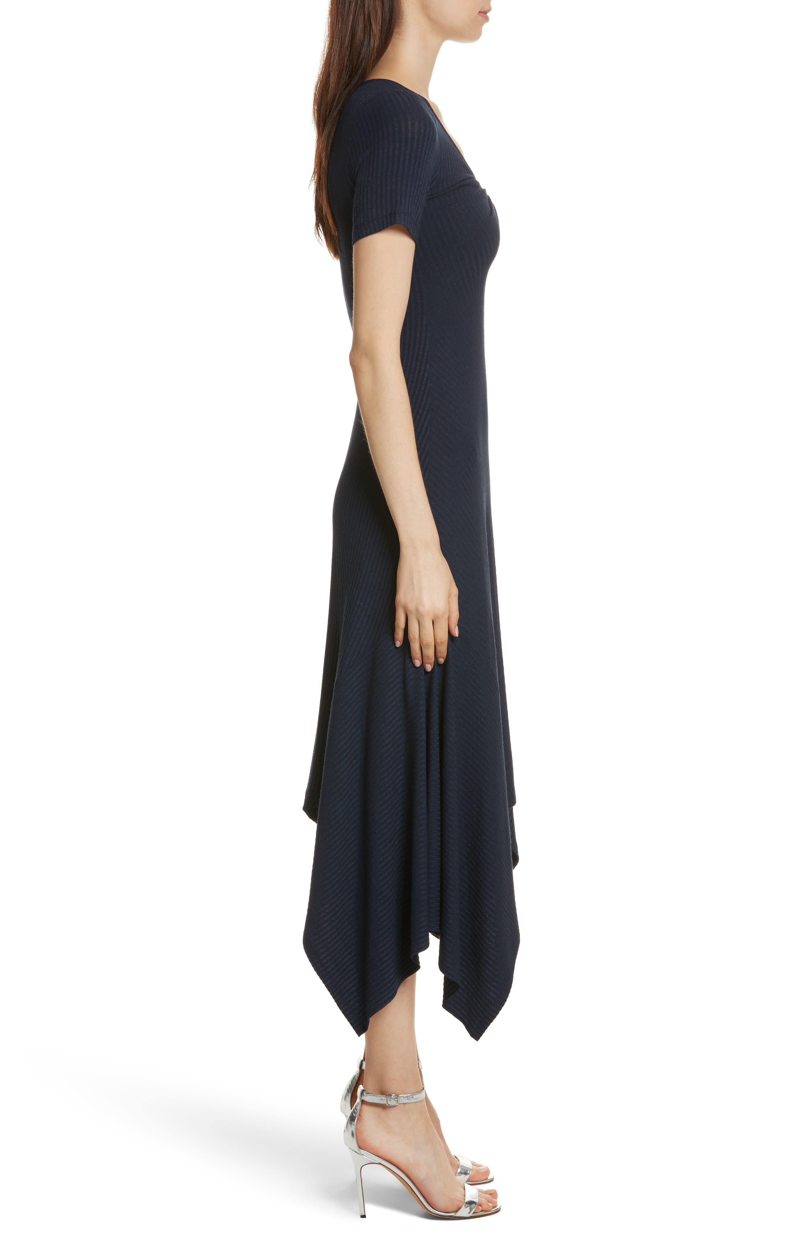 Knotted Rib Knit Midi Dress,                             Alternate thumbnail 4, color,                             Navy