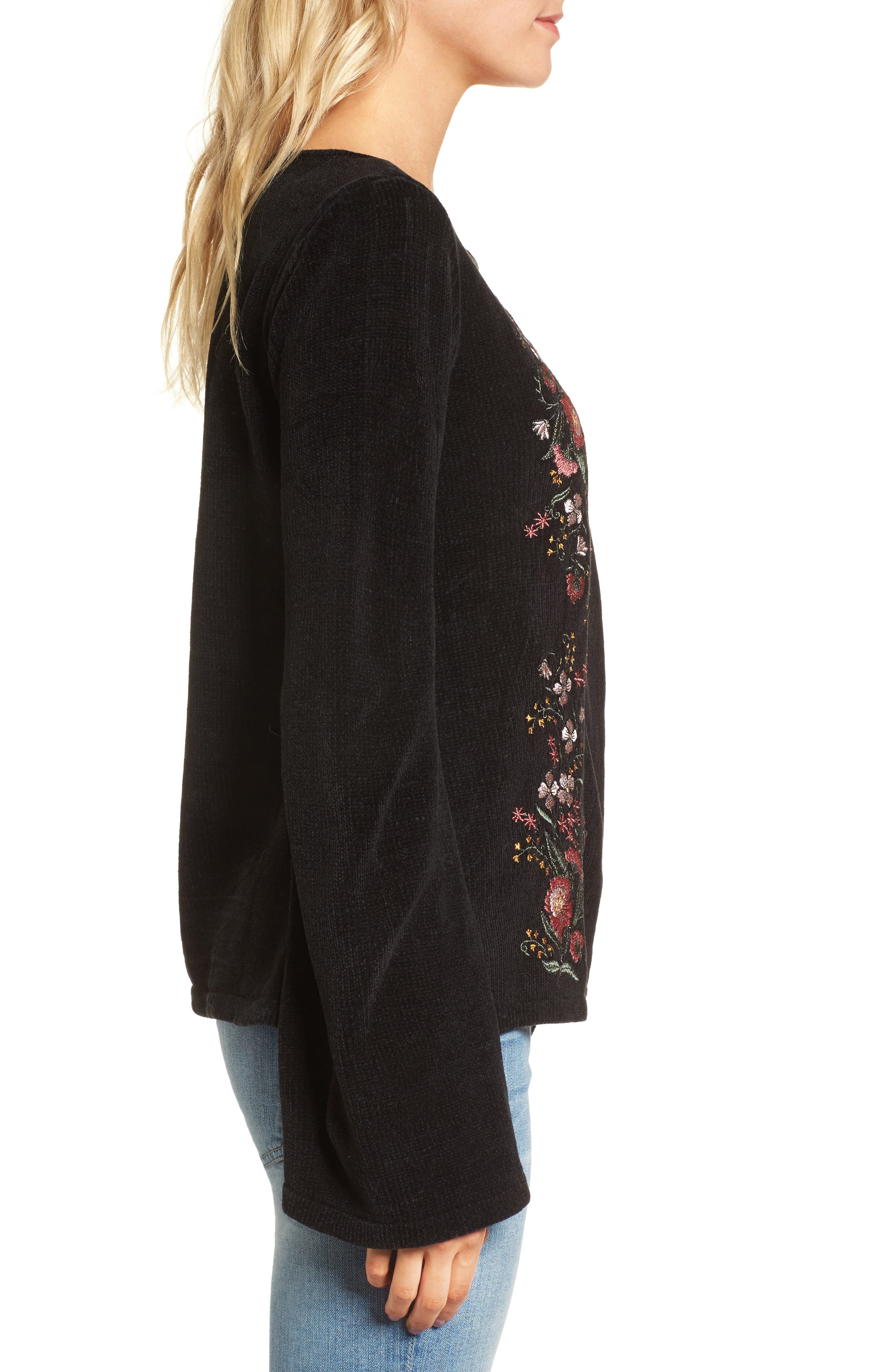 Ruthie Embroidered Sweater,                             Alternate thumbnail 3, color,                             Black