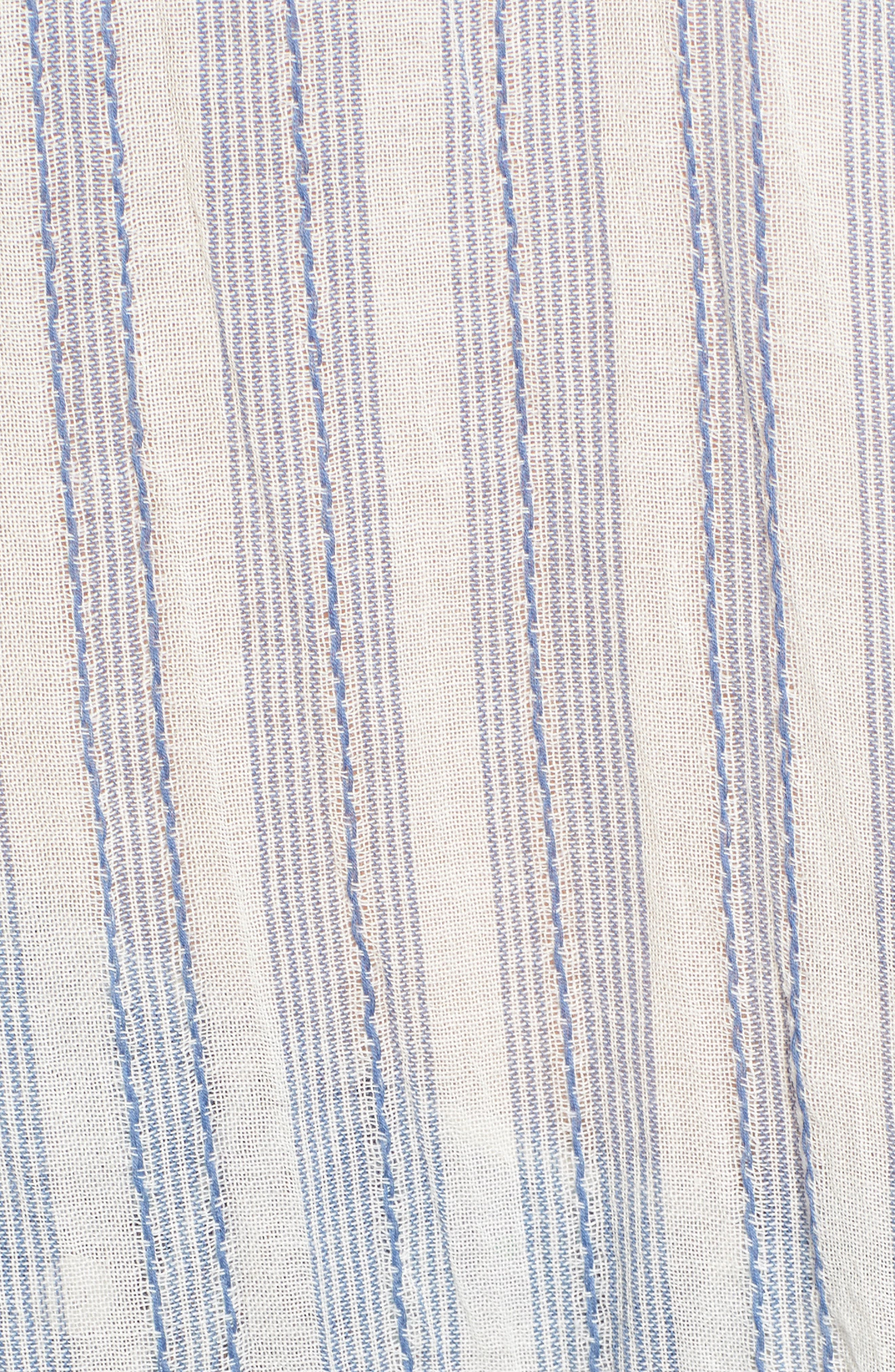 Stripe Cotton Split Neck Top,                             Alternate thumbnail 5, color,                             Blue/ White Stripe