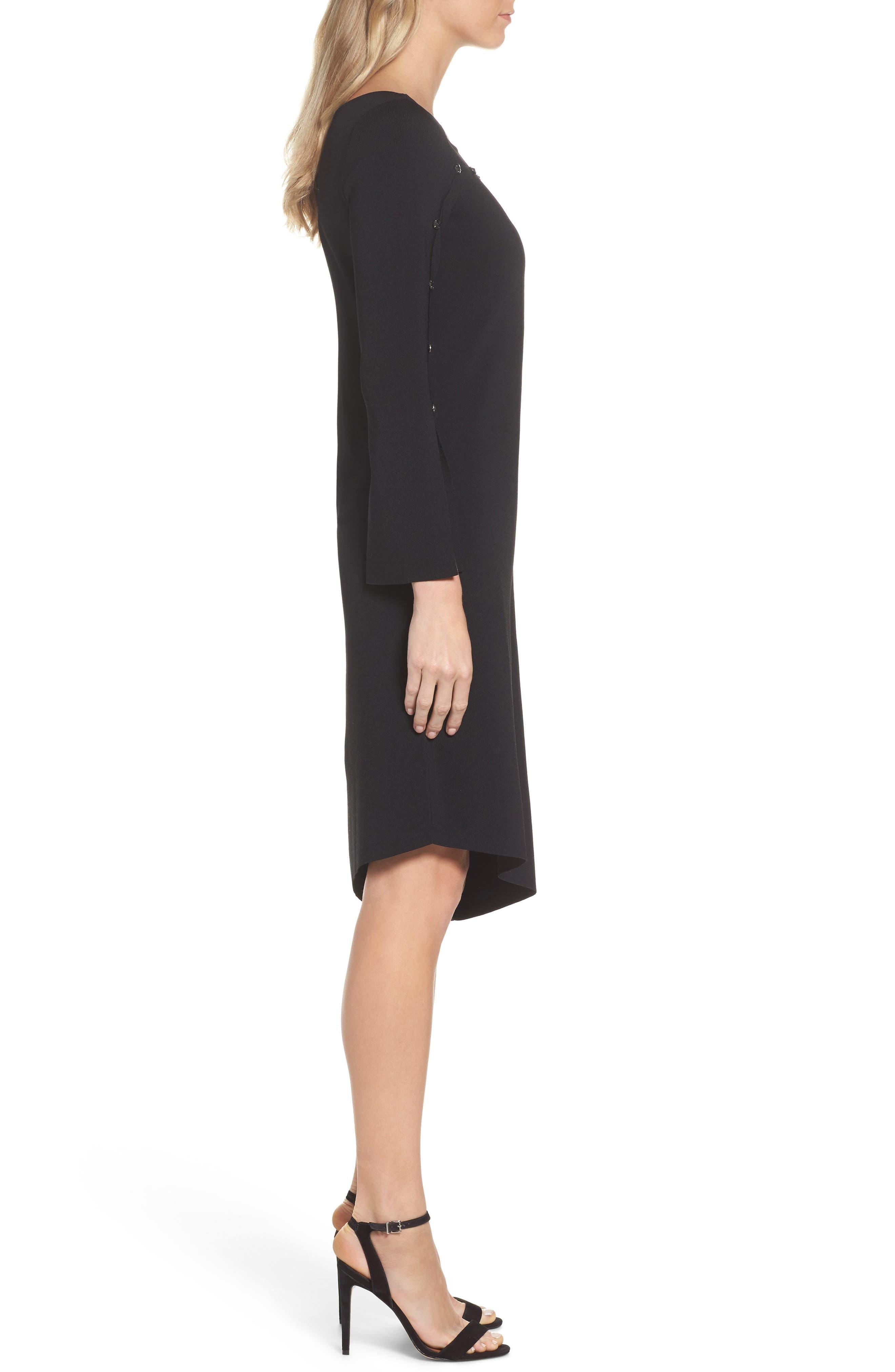 Studded Asymmetrical Dress,                             Alternate thumbnail 3, color,                             Black Onyx